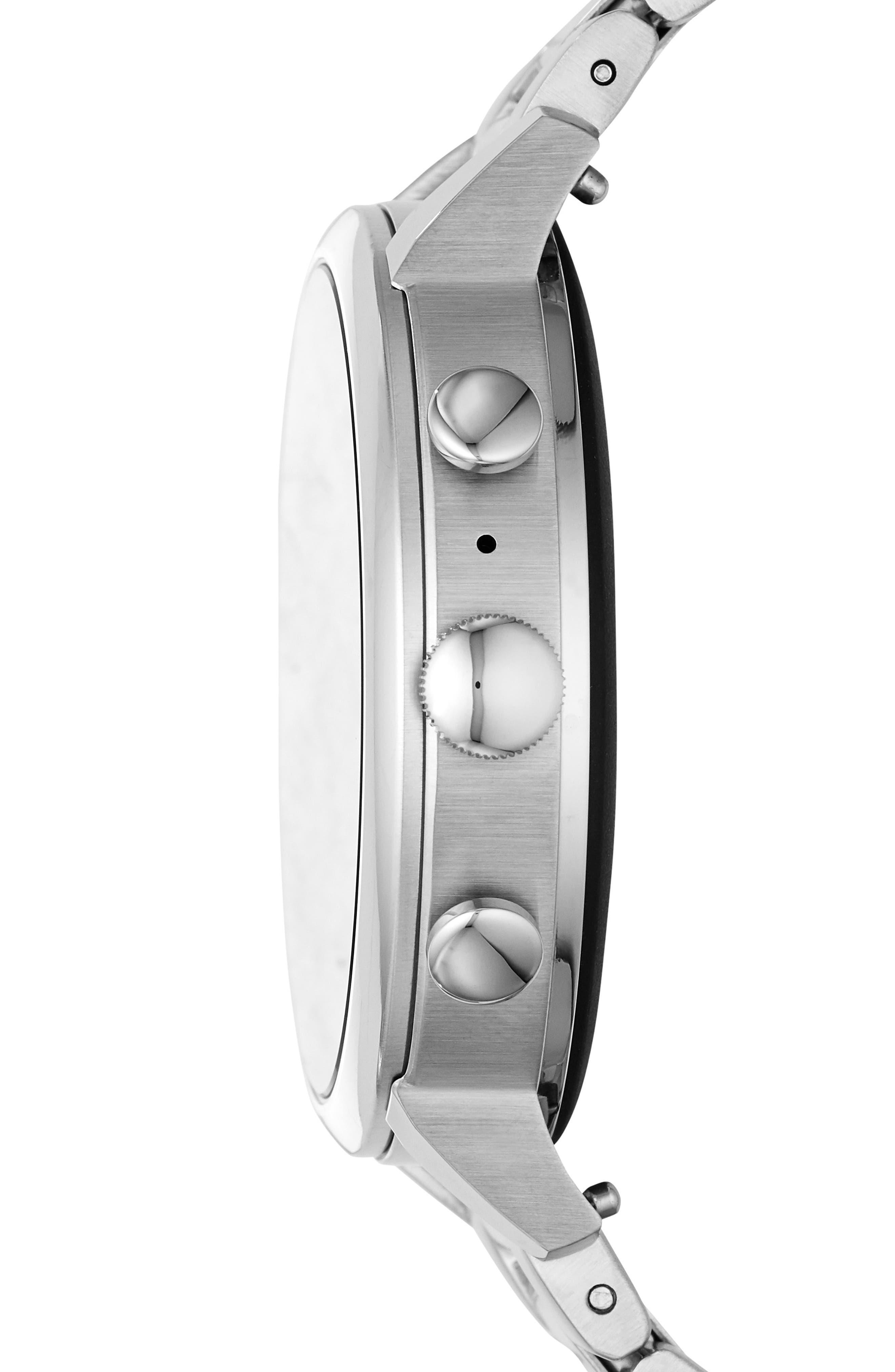 FOSSIL, Q Venture HR Bracelet Watch, 40mm, Alternate thumbnail 3, color, SILVER