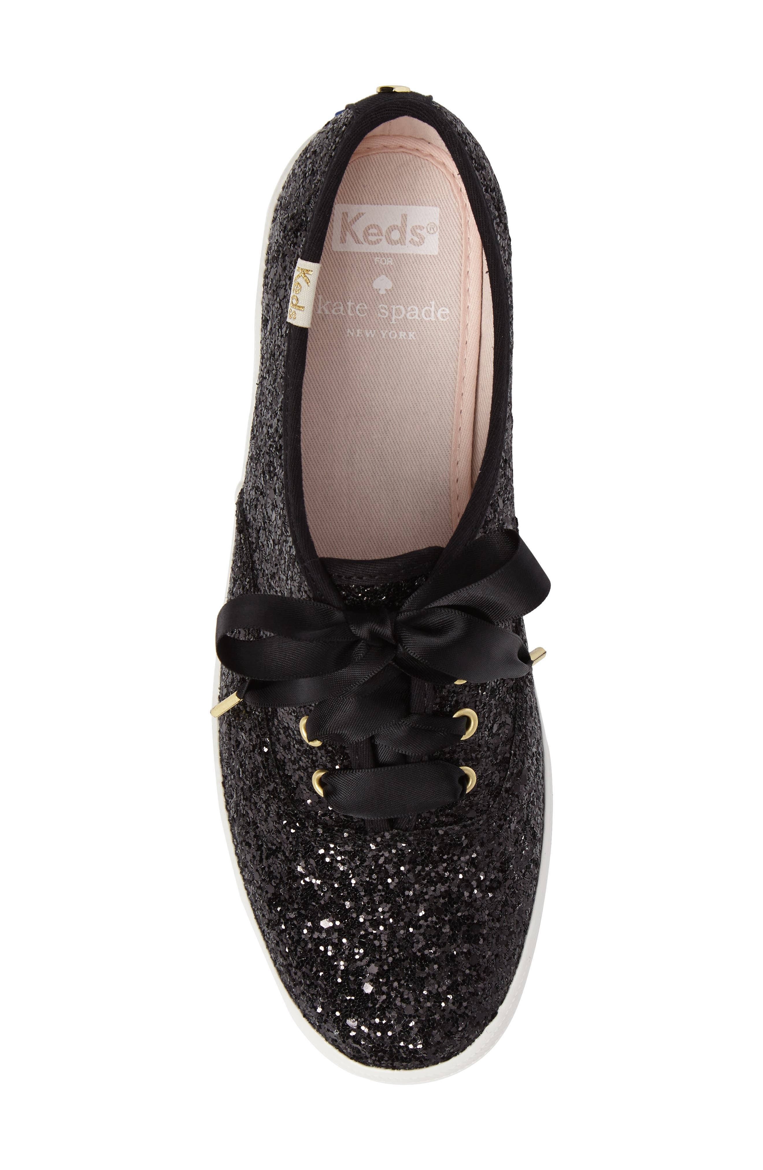 KEDS<SUP>®</SUP> FOR KATE SPADE NEW YORK, glitter sneaker, Alternate thumbnail 5, color, BLACK