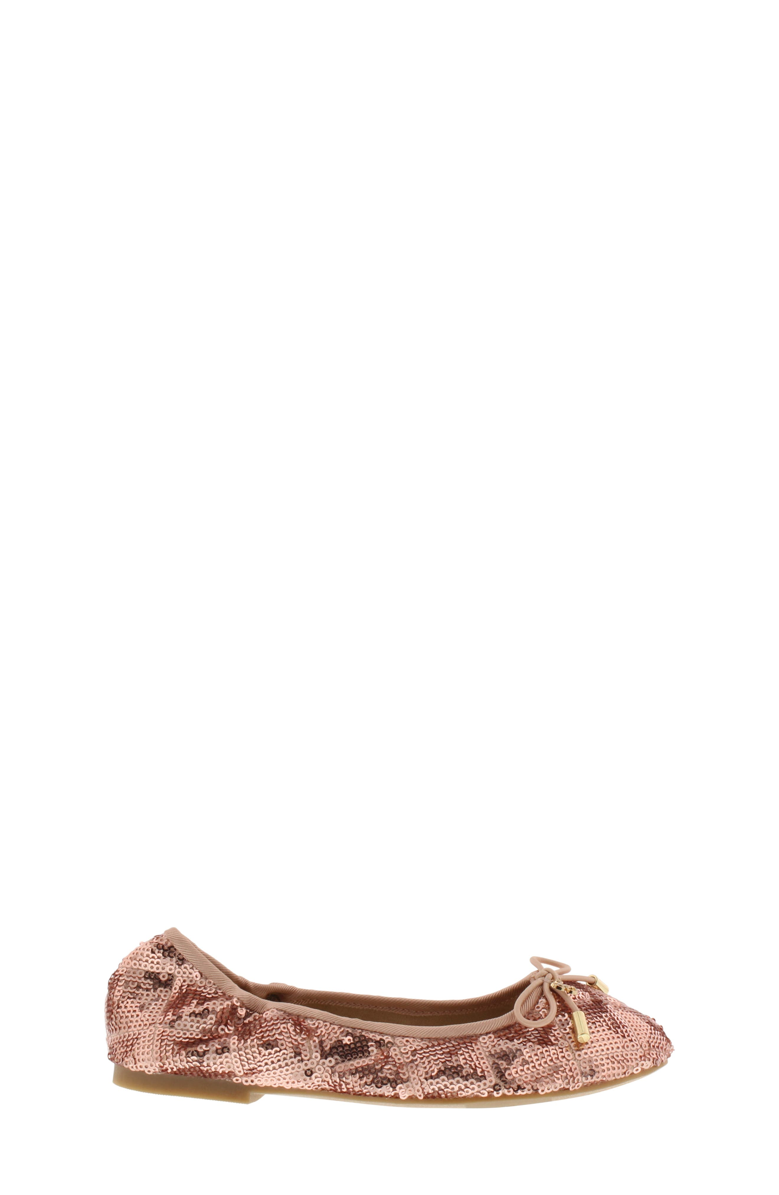 SAM EDELMAN, Felicia Sequin Ballet Flat, Alternate thumbnail 3, color, ROSE GOLD