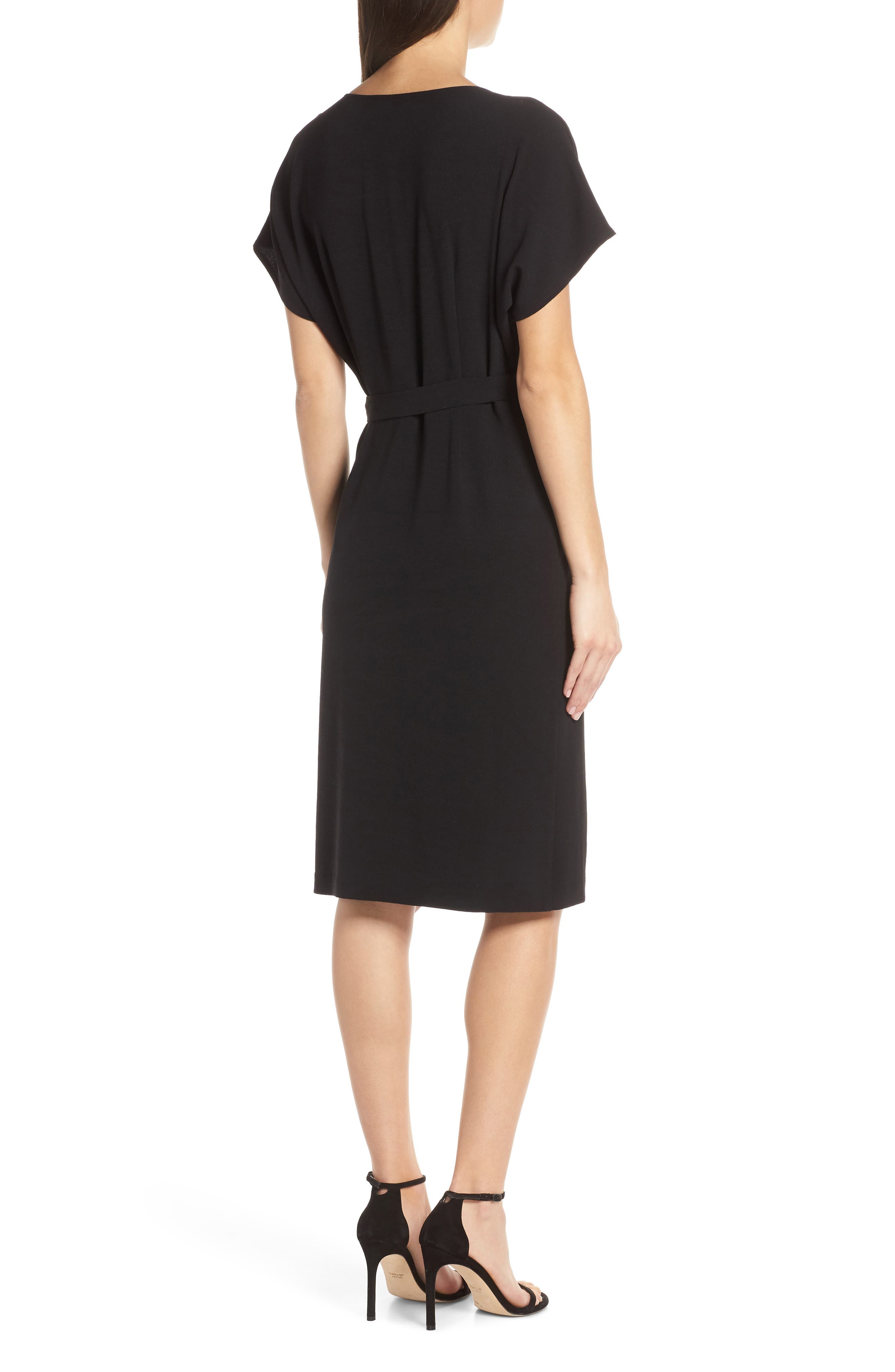 CHARLES HENRY, Faux Wrap Dress, Alternate thumbnail 2, color, BLACK