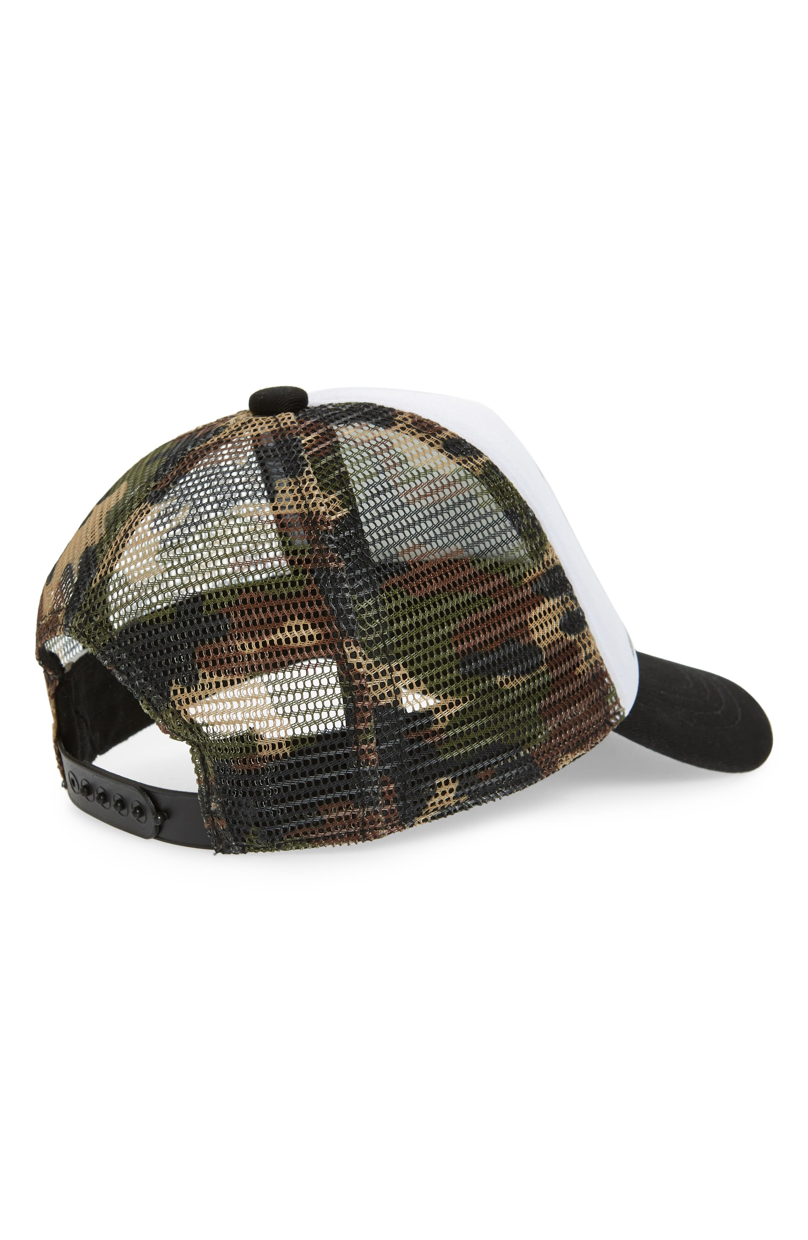 GROM SQUAD, Surfari Trucker Hat, Alternate thumbnail 2, color, CAMO/ WHITE