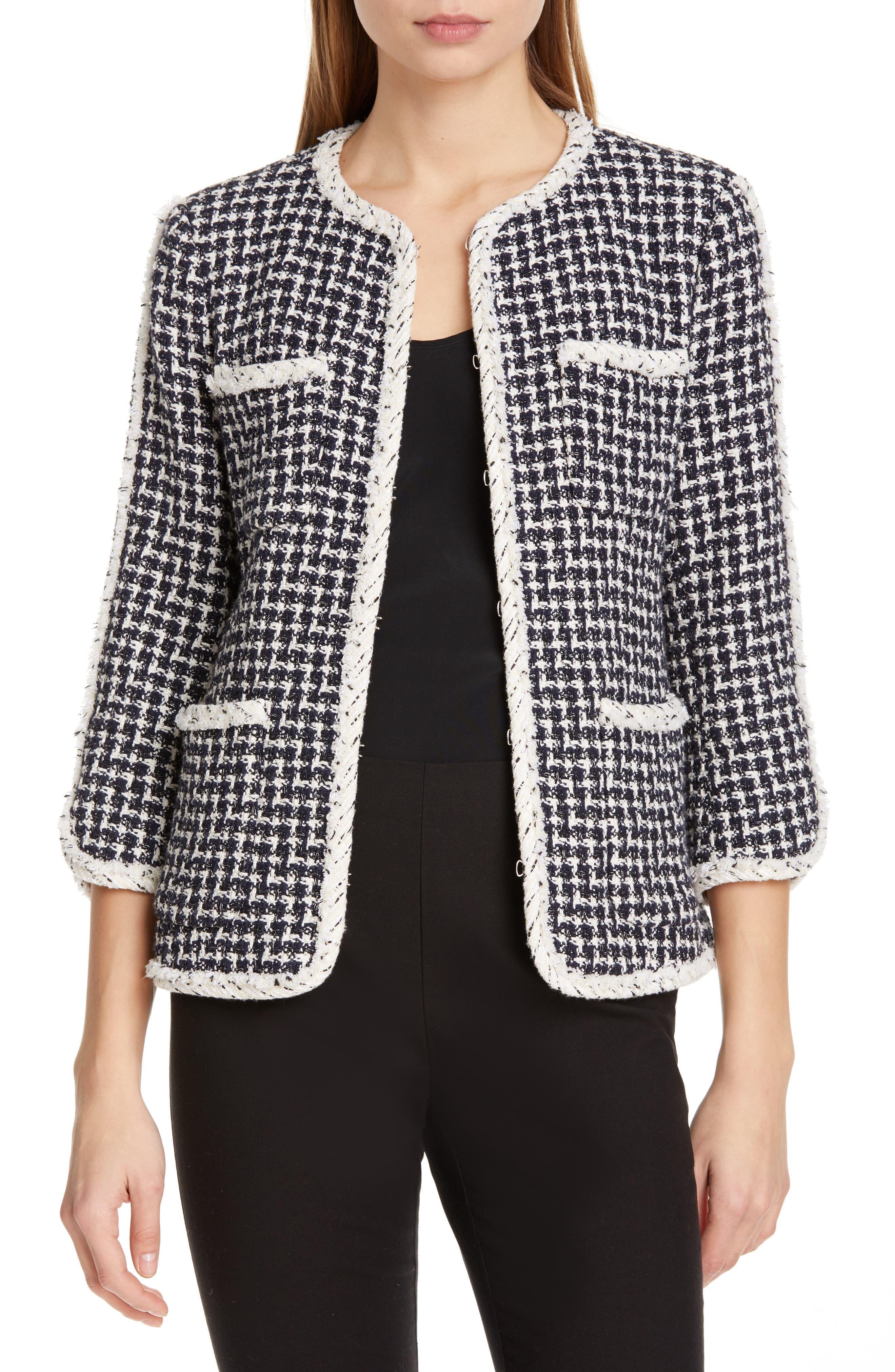 REBECCA TAYLOR, Tweed Jacket, Main thumbnail 1, color, BLACK COMBO