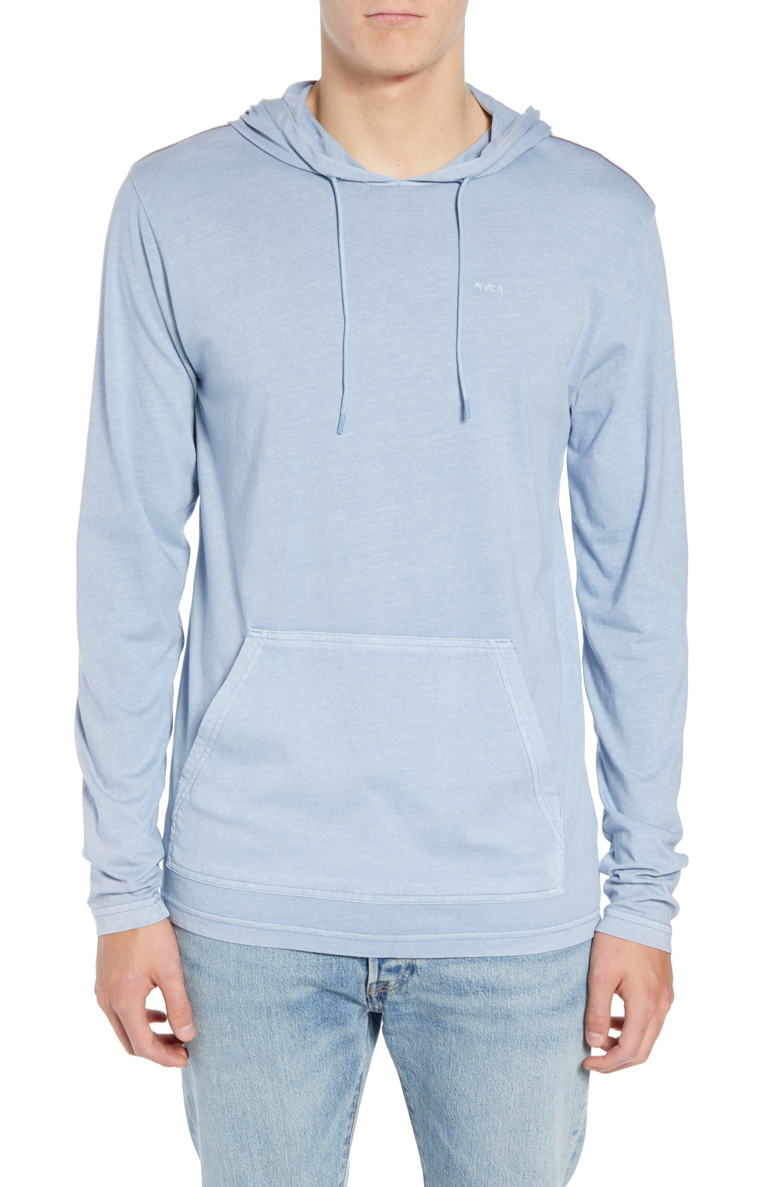 RVCA, PTC Cotton Hoodie, Main thumbnail 1, color, DUSTY BLUE