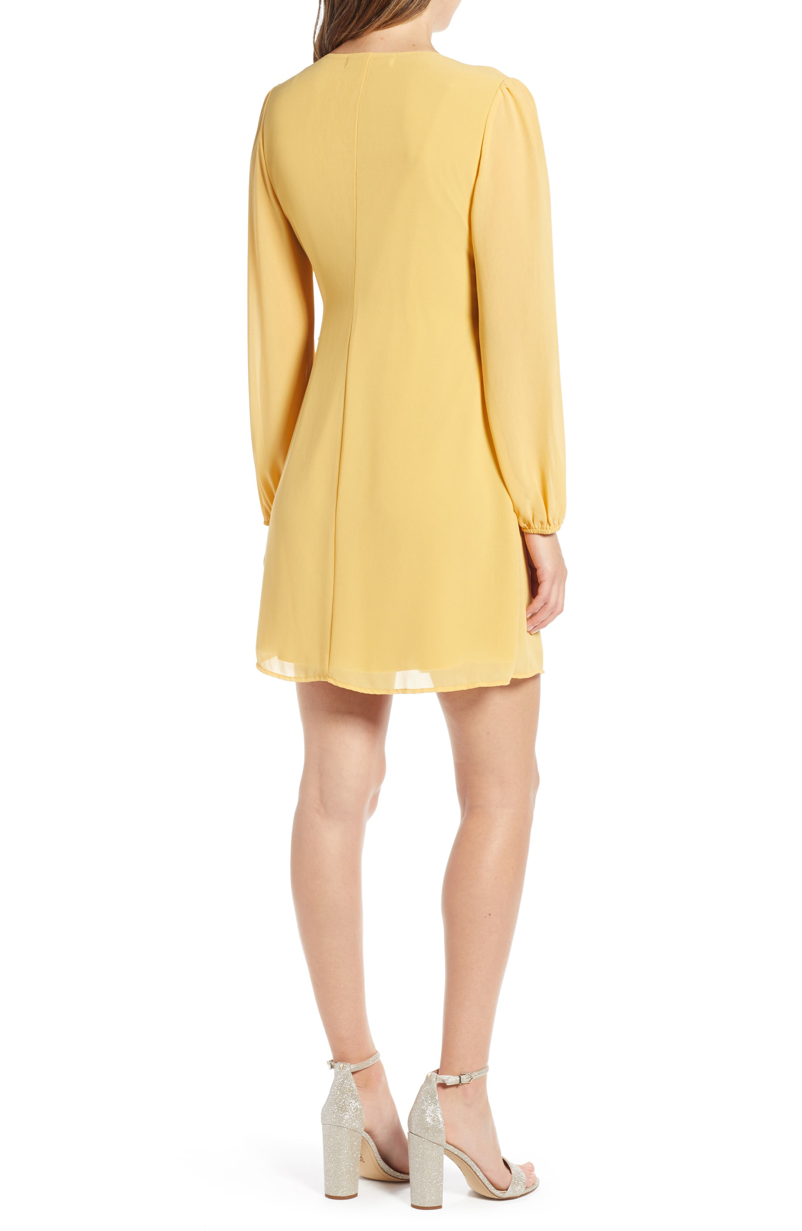 ROW A, Faux Wrap Dress, Alternate thumbnail 2, color, MUSTARD SOLID
