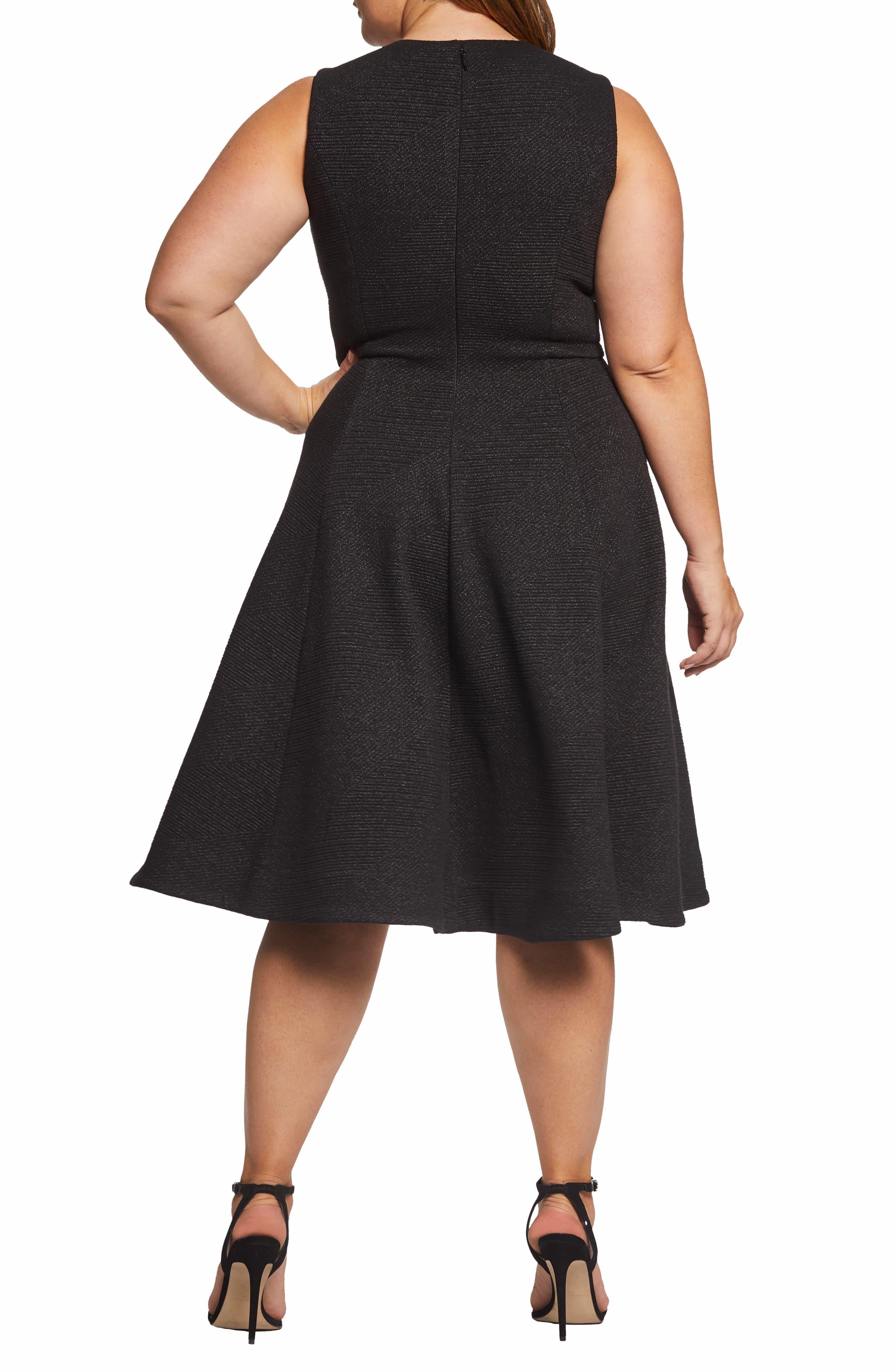 DRESS THE POPULATION, Sleeveless A-Line Dress, Alternate thumbnail 2, color, BLACK