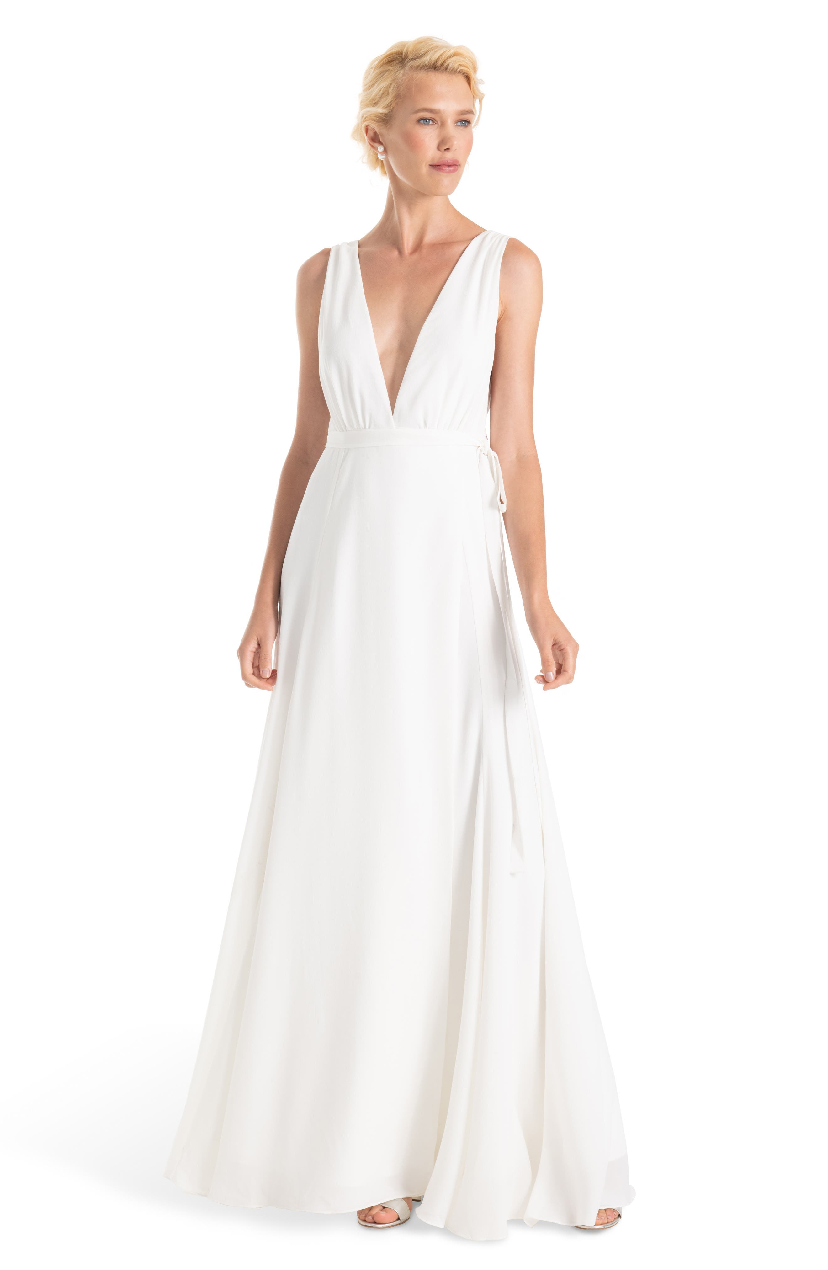 JOANNA AUGUST, Jagger Plunging Wrap Dress, Main thumbnail 1, color, WHITE