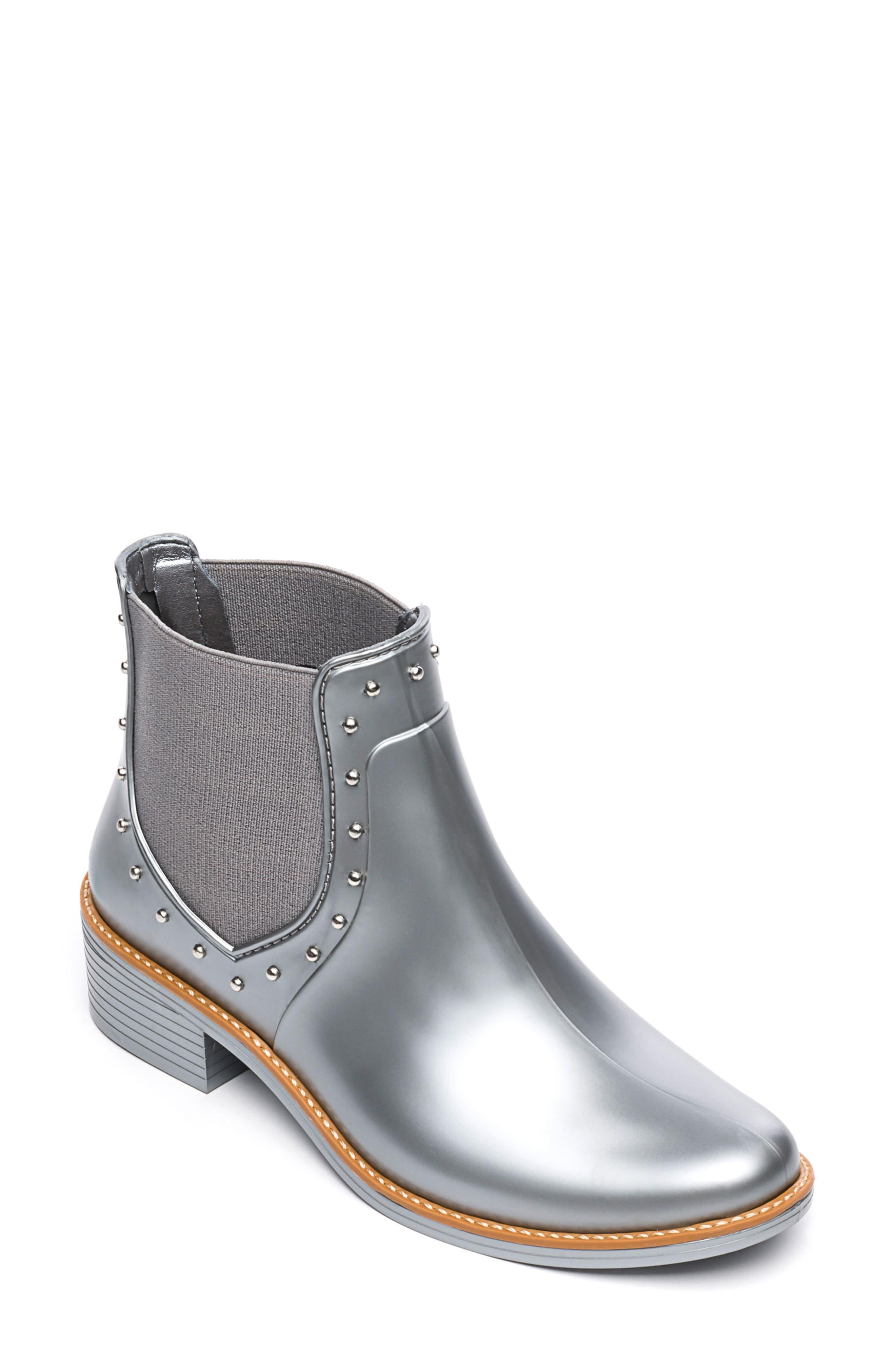 Bernardo Peyton Waterproof Rain Bootie, Metallic
