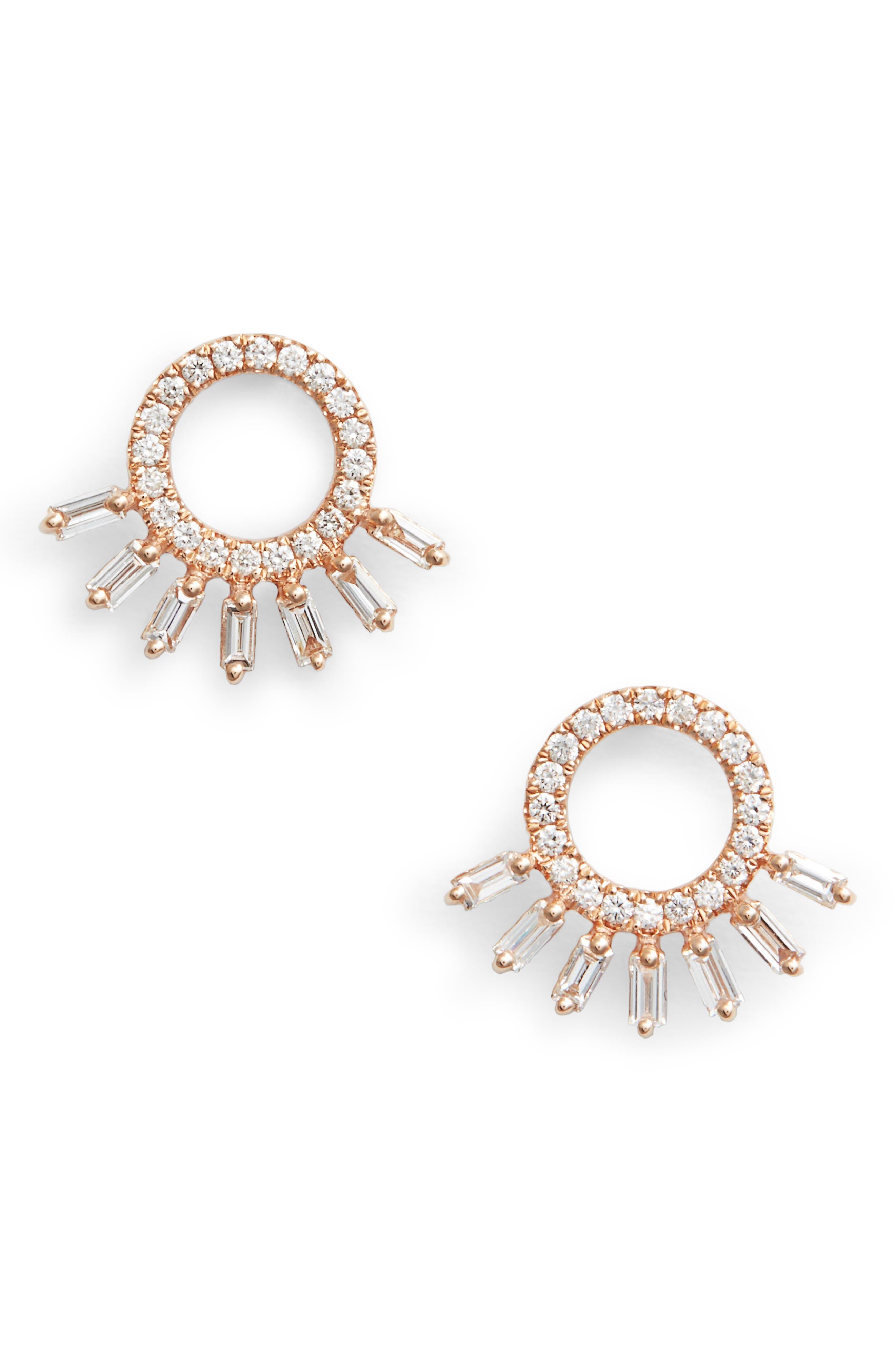 DANA REBECCA DESIGNS, Dana Rebecca Sadie Starburst Stud Earrings, Main thumbnail 1, color, ROSE GOLD