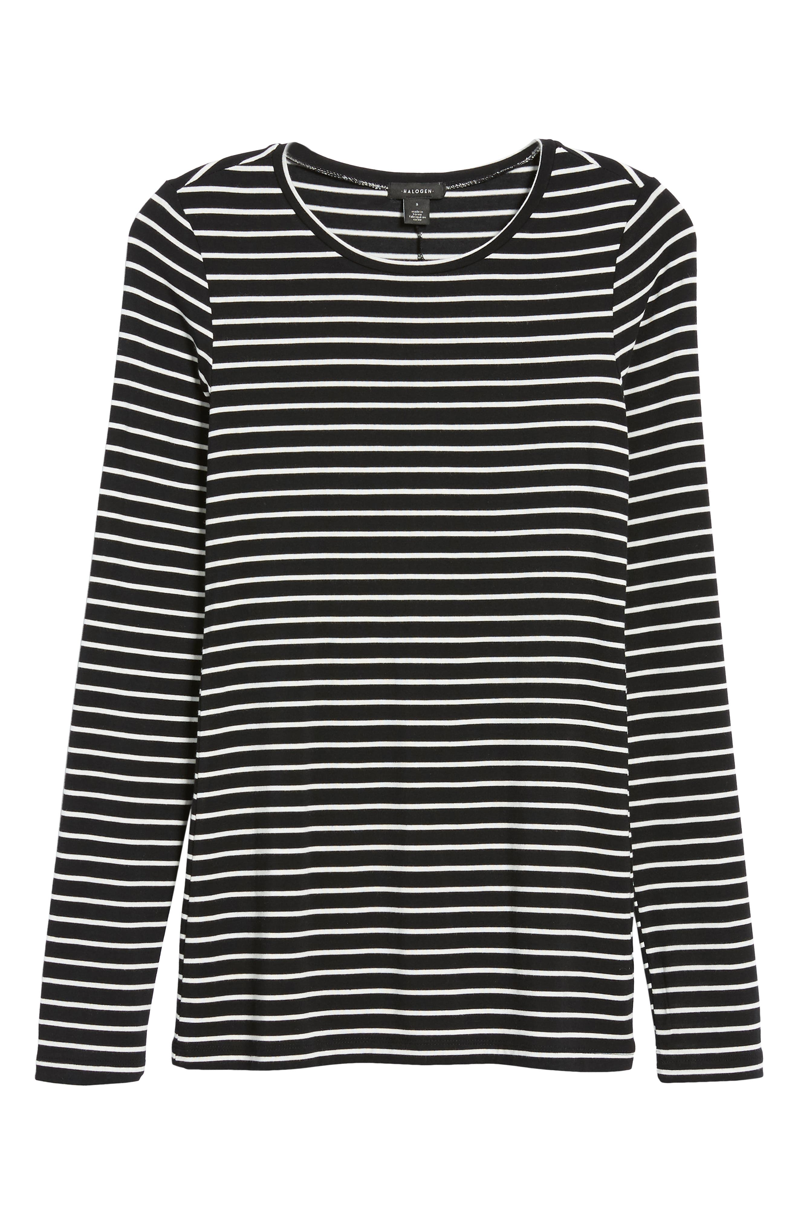HALOGEN<SUP>®</SUP>, Long Sleeve Modal Blend Tee, Alternate thumbnail 7, color, BLACK- IVORY ASHLEY STRIPE