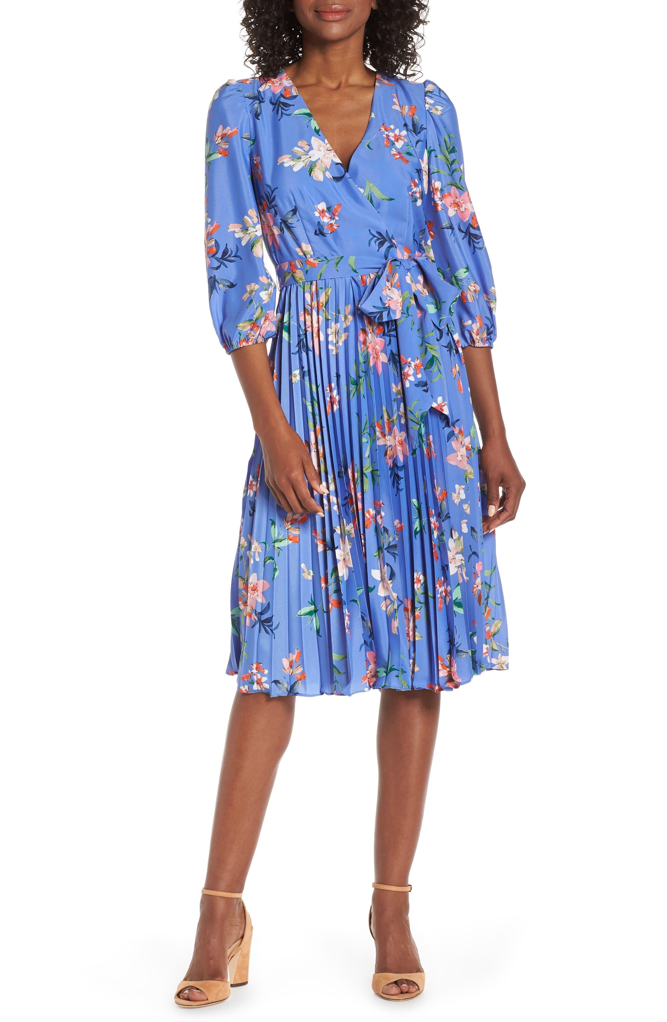 ELIZA J, Pleated Faux Wrap Dress, Main thumbnail 1, color, BLUE