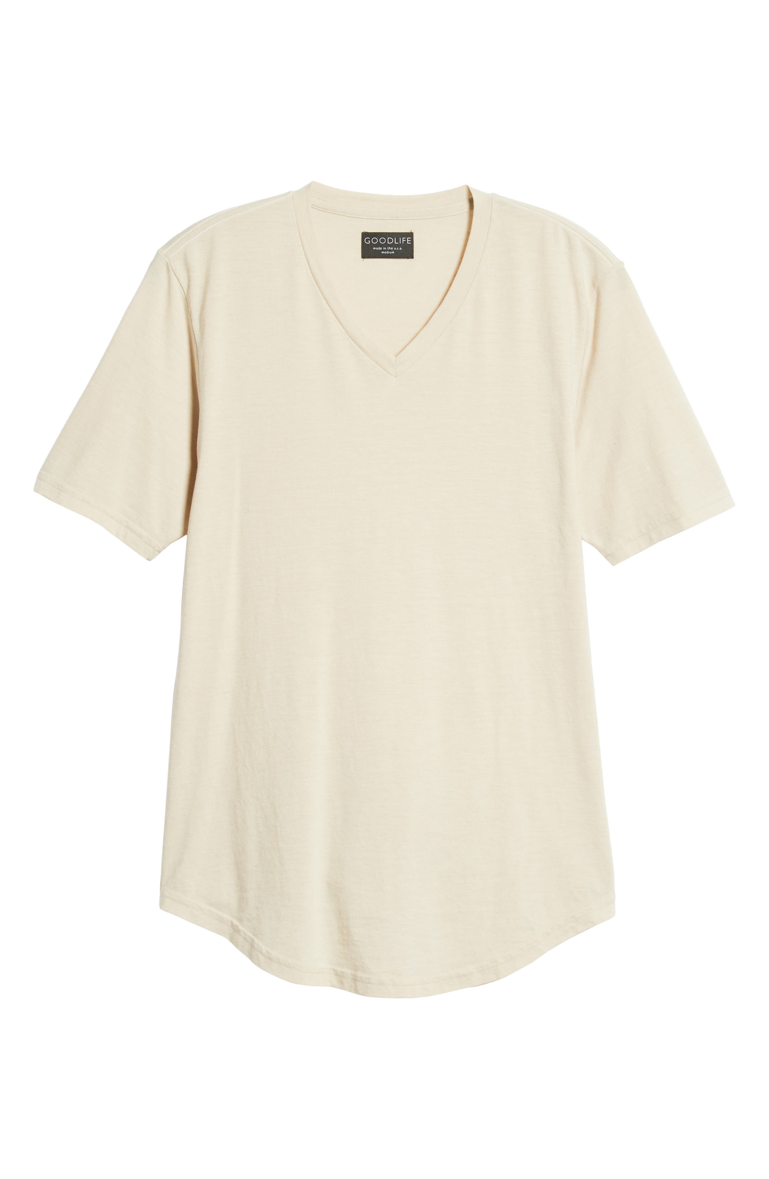 GOODLIFE, Scallop Triblend V-Neck T-Shirt, Alternate thumbnail 6, color, OYSTER