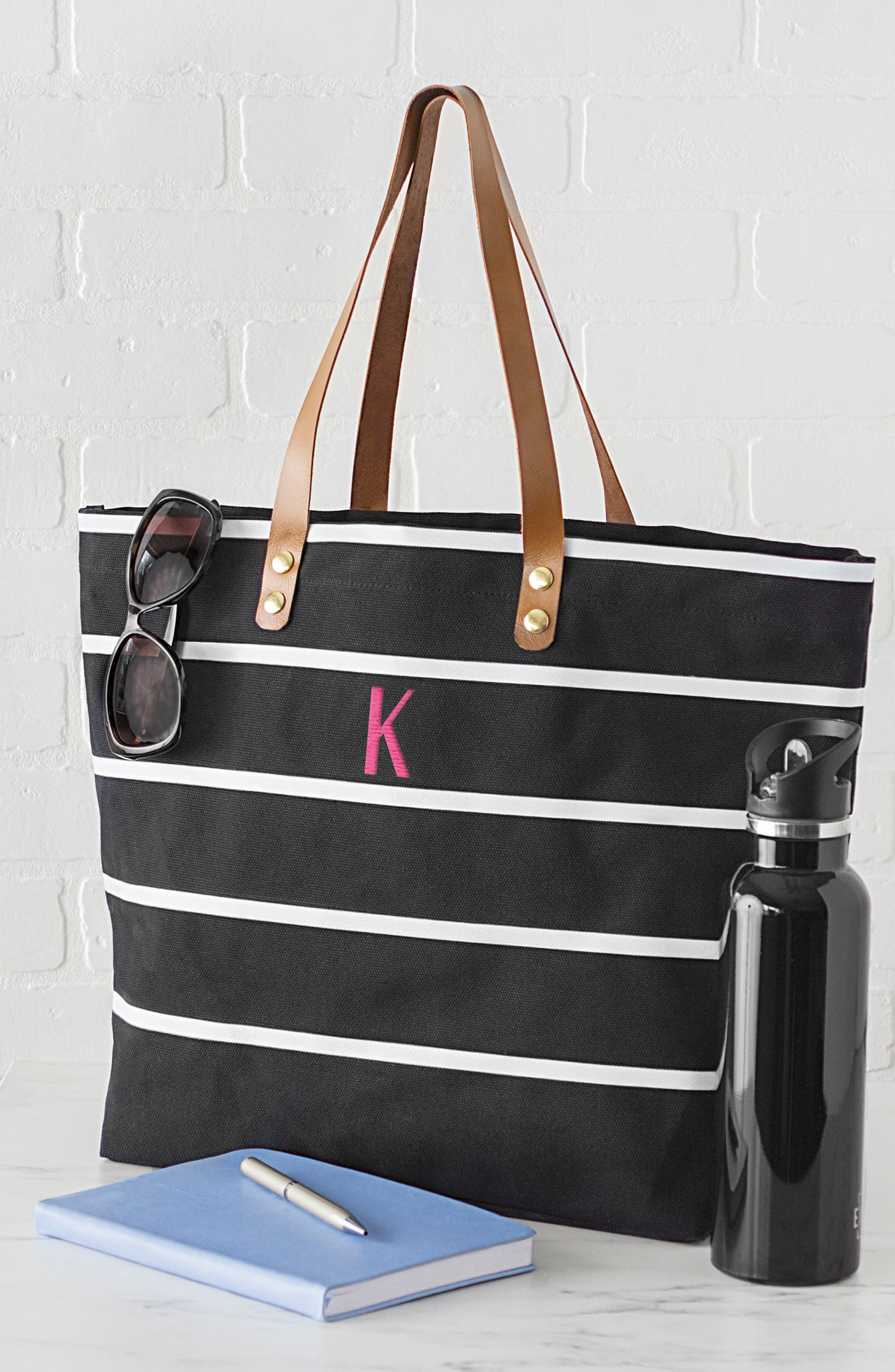 CATHY'S CONCEPTS, Monogram Large Canvas Tote, Alternate thumbnail 7, color, BLACK