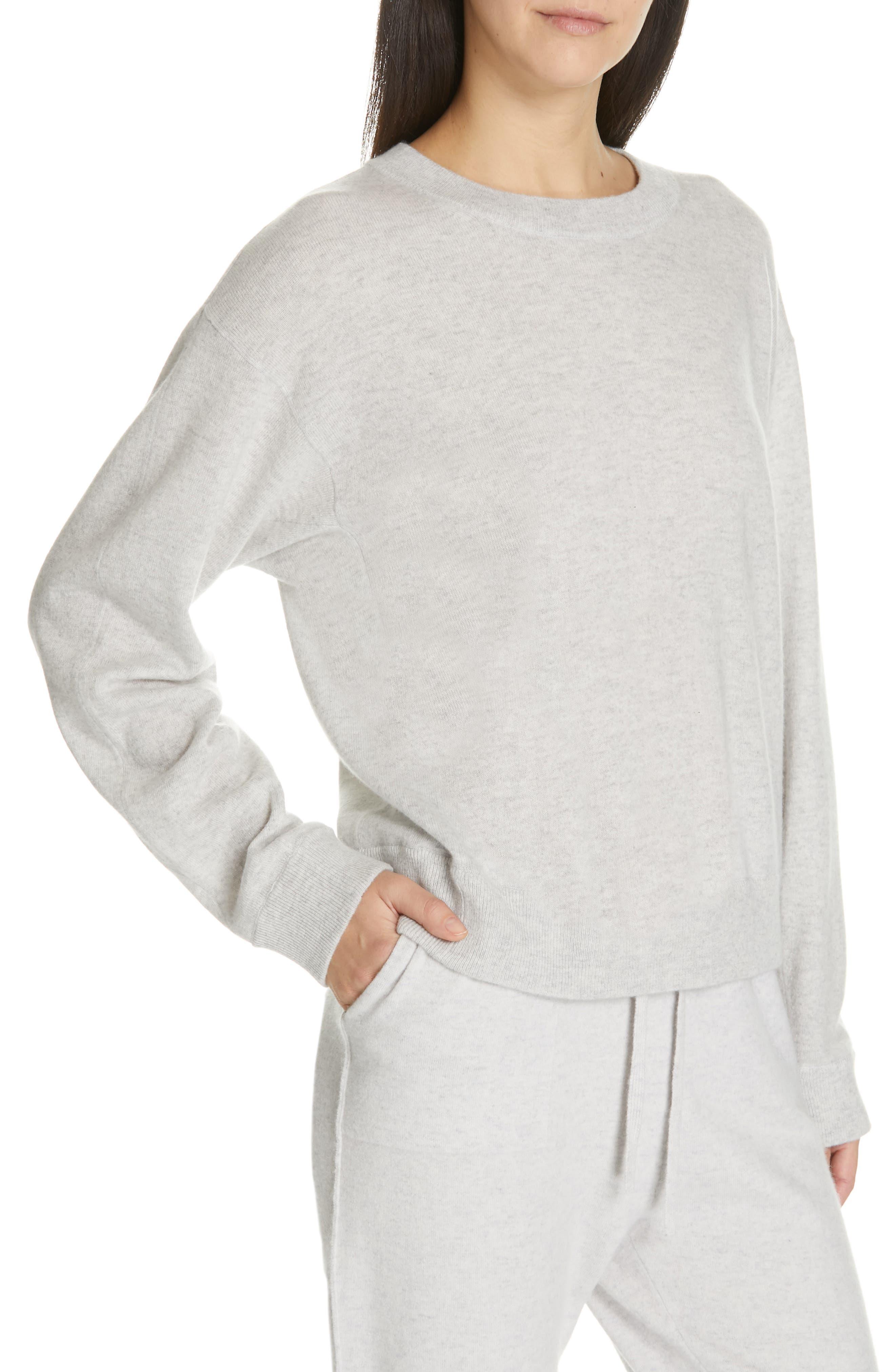 VINCE, Boxy Cashmere Sweater, Alternate thumbnail 4, color, LIGHT HEATHER GREY