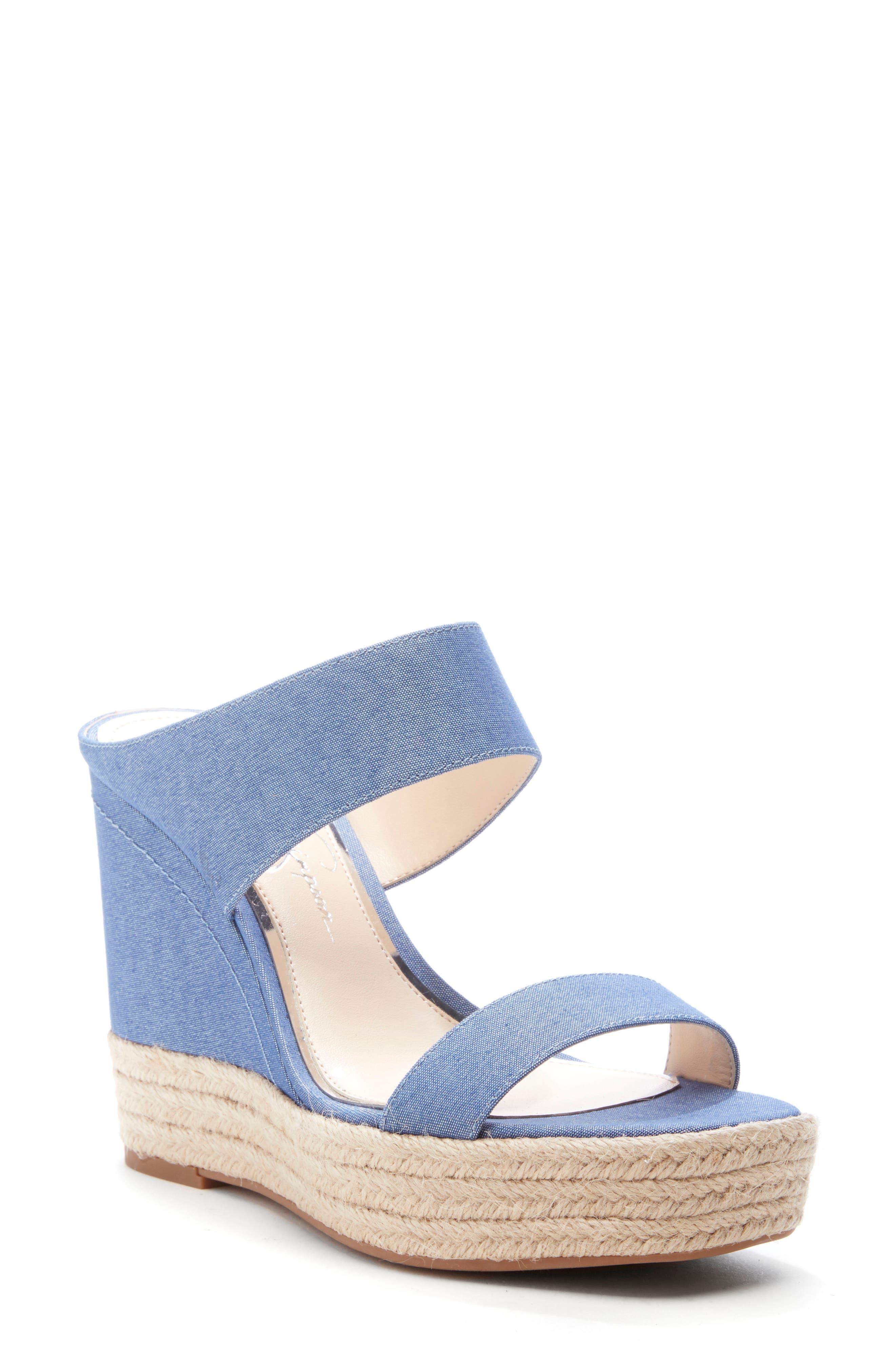 Jessica Simpson Siera Espadrille Wedge Slide Sandal, Blue/green