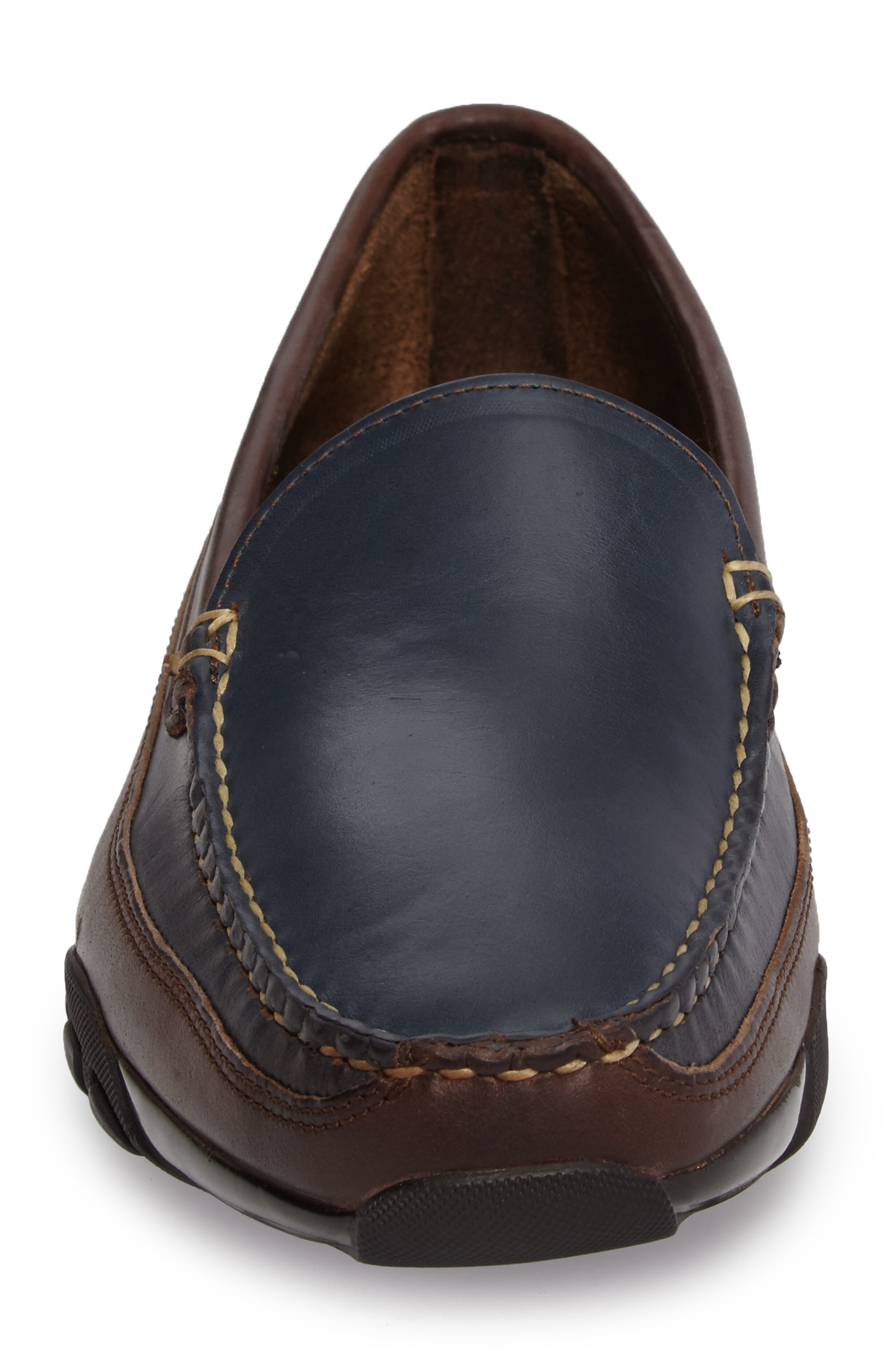 ALLEN EDMONDS, 'Boulder' Driving Loafer, Alternate thumbnail 4, color, NAVY/ BROWN