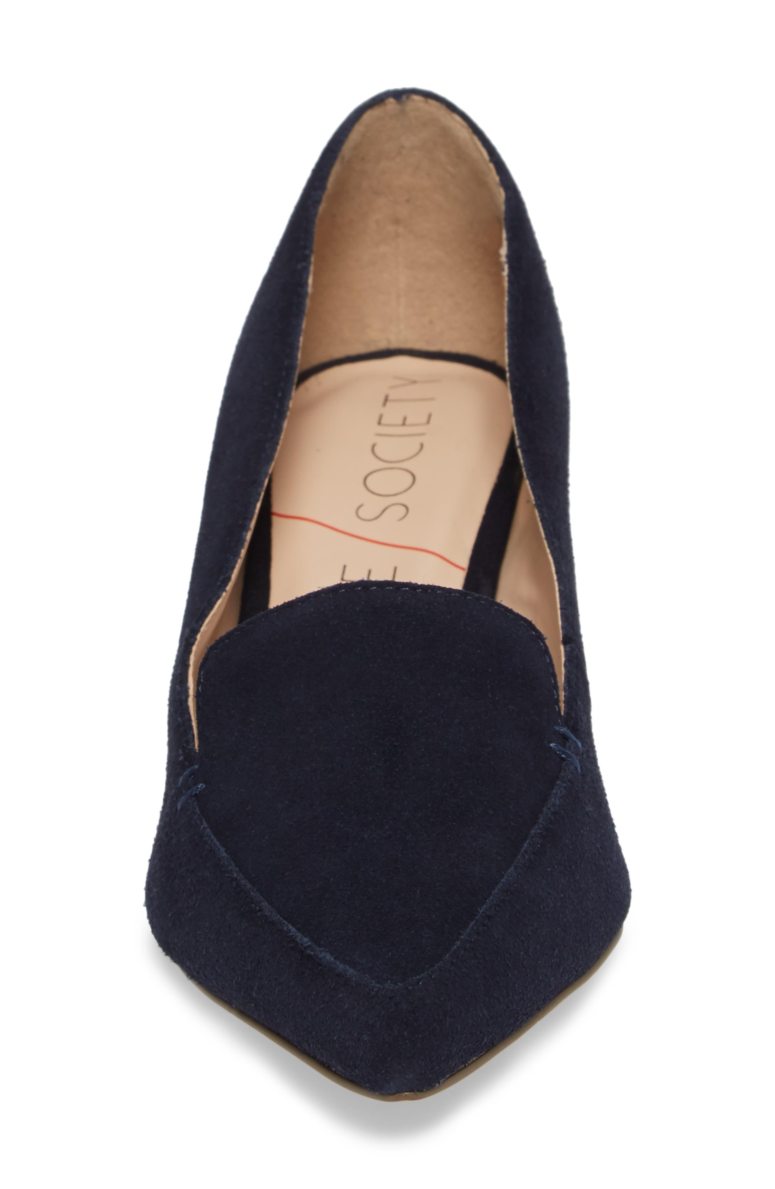 SOLE SOCIETY, Mavis Flare Heel Loafer, Alternate thumbnail 4, color, OMBRE BLUE