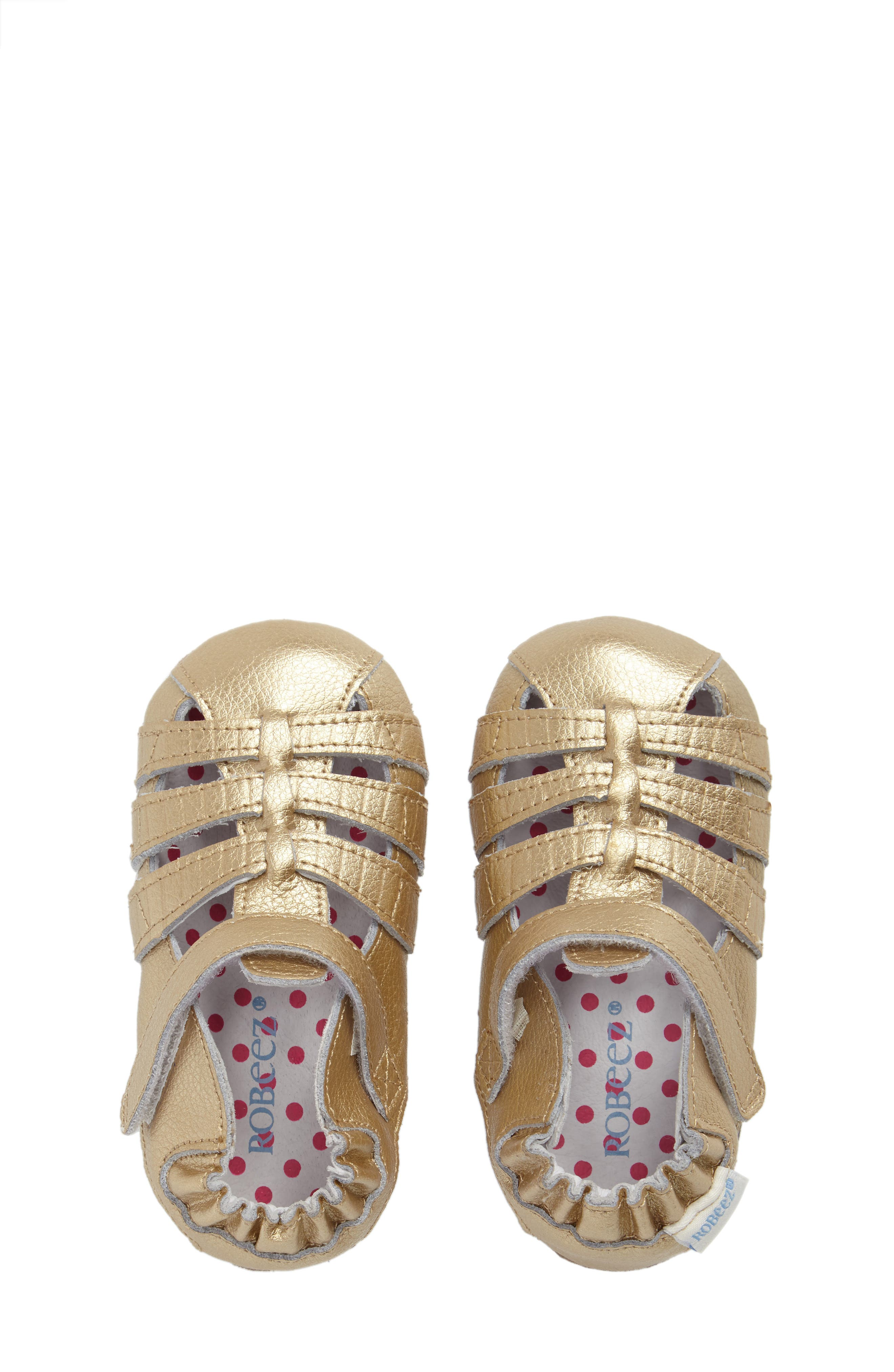 ROBEEZ<SUP>®</SUP>, Paris Crib Shoe, Alternate thumbnail 5, color, GOLD