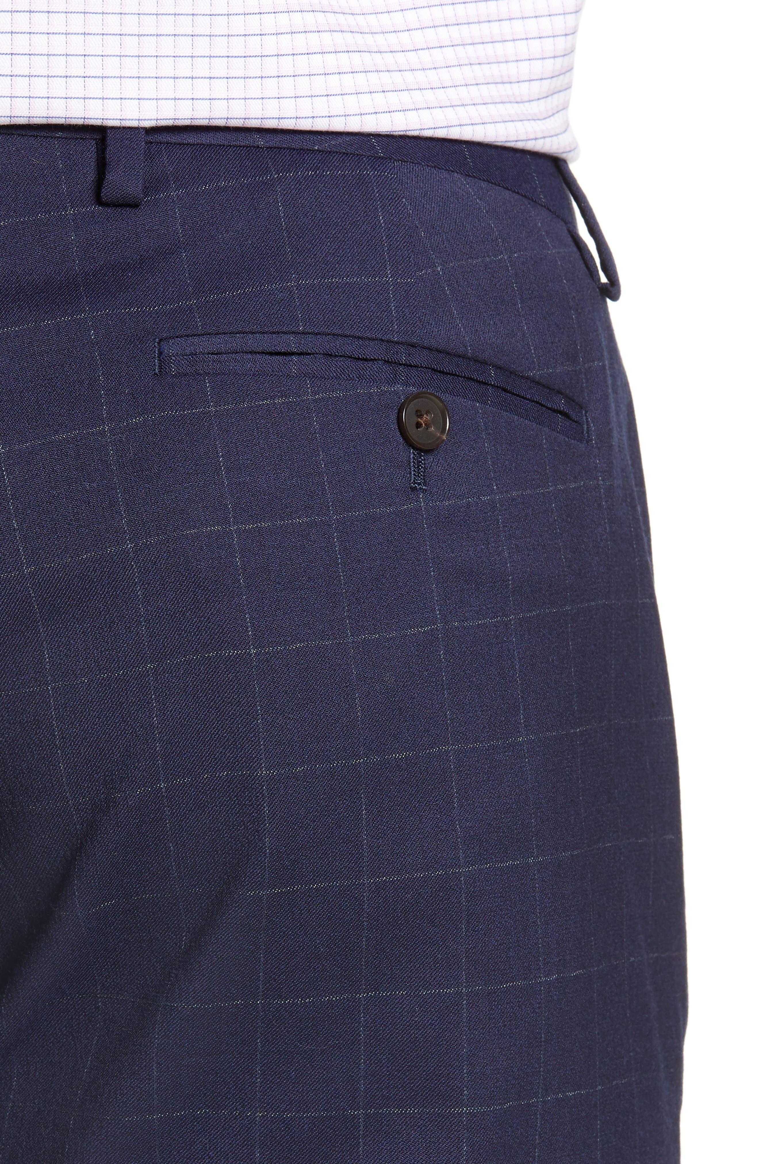 BONOBOS, Jetsetter Slim Fit Stretch Suit Pants, Alternate thumbnail 4, color, NAVY CHALK WINDOWPANE