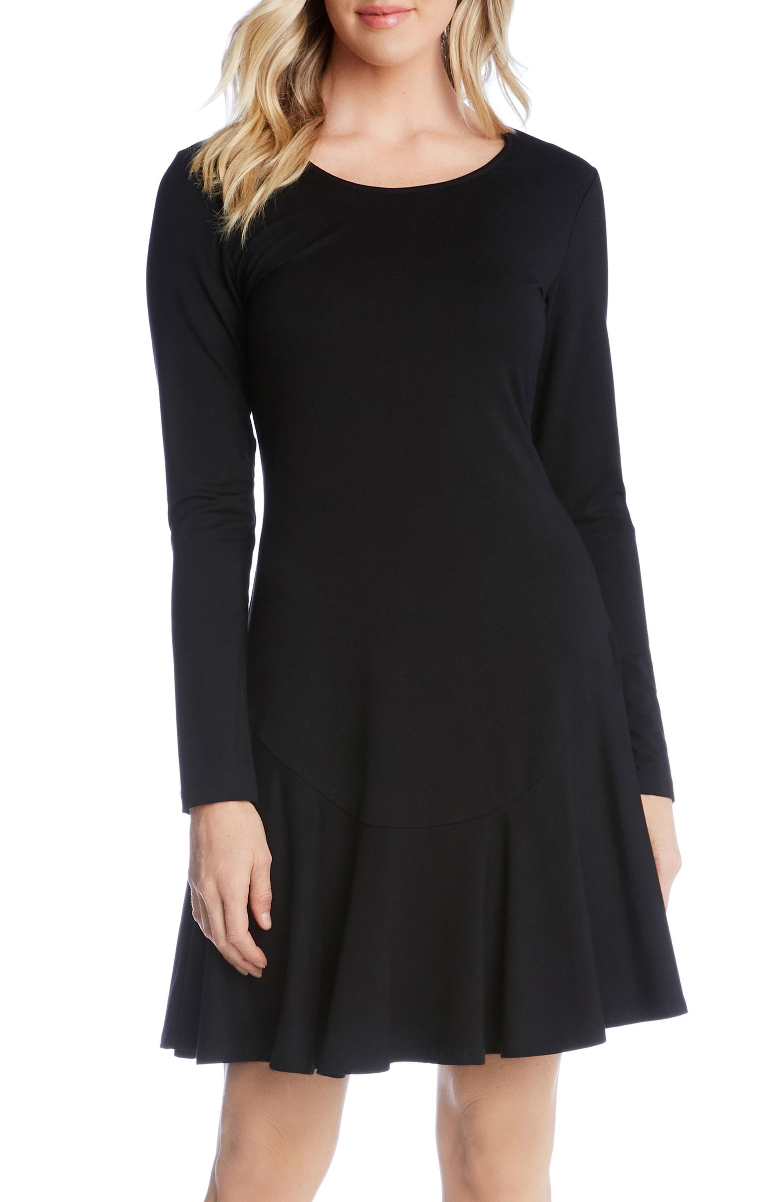 KAREN KANE, Dakota Ruffle Hem A-Line Dress, Alternate thumbnail 4, color, BLACK