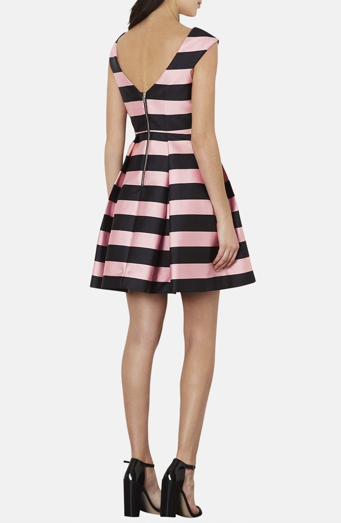 TOPSHOP, Stripe Satin Fit & Flare Dress, Alternate thumbnail 2, color, 001