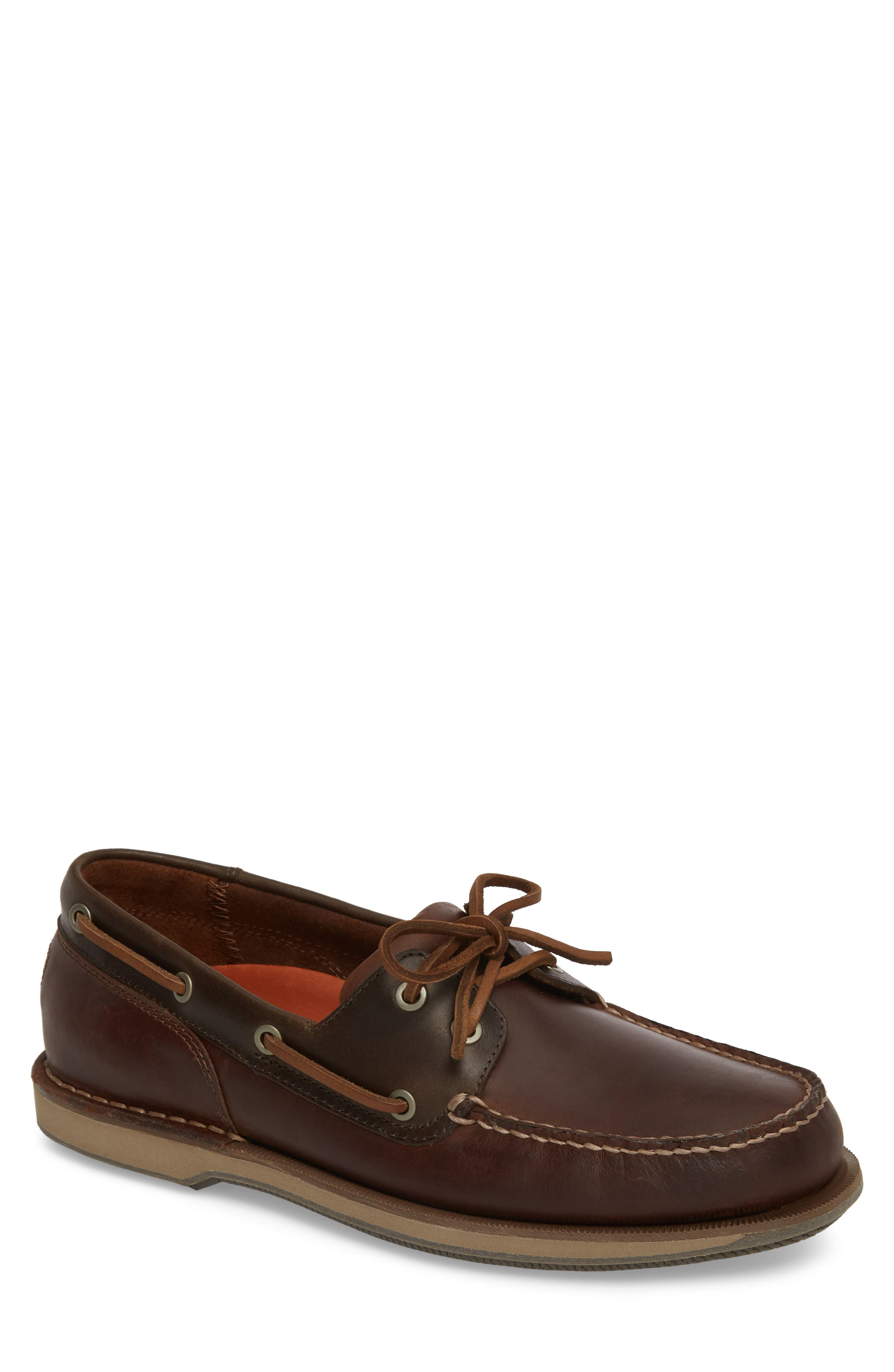 ROCKPORT, 'Perth' Boat Shoe, Main thumbnail 1, color, DARK BROWN LEATHER