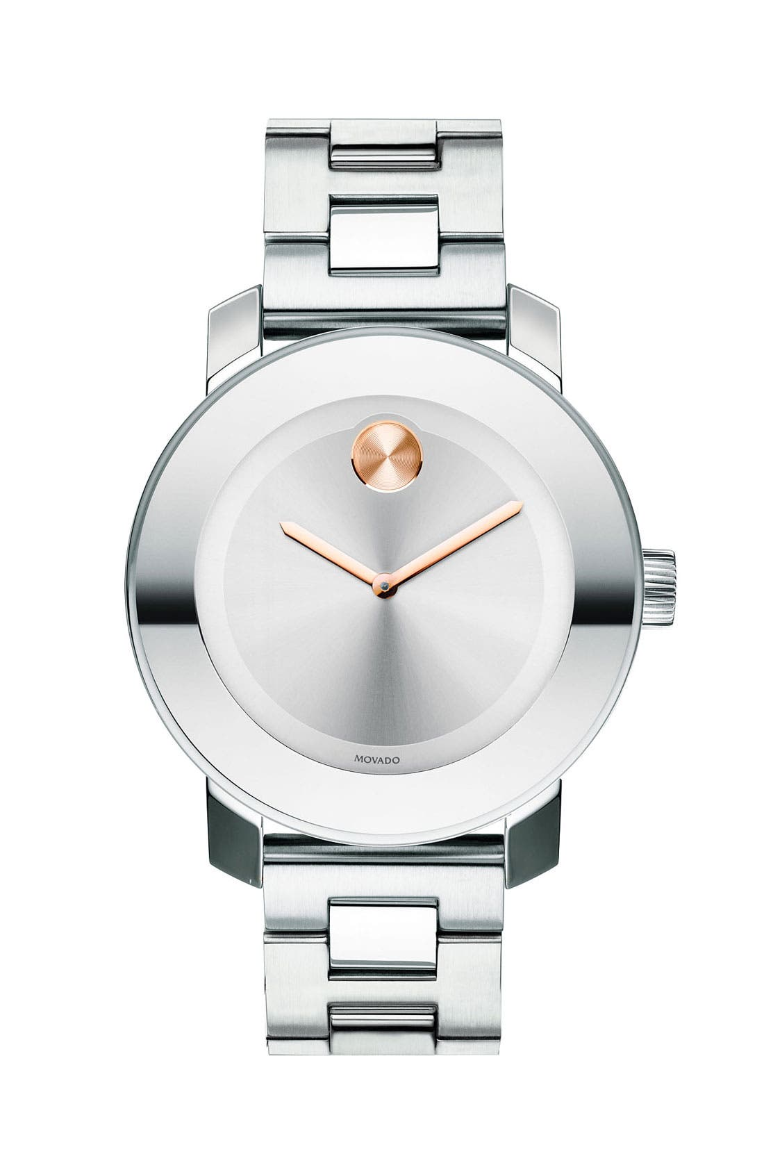 MOVADO, 'Bold' Round Bracelet Watch, 36mm, Main thumbnail 1, color, SILVER
