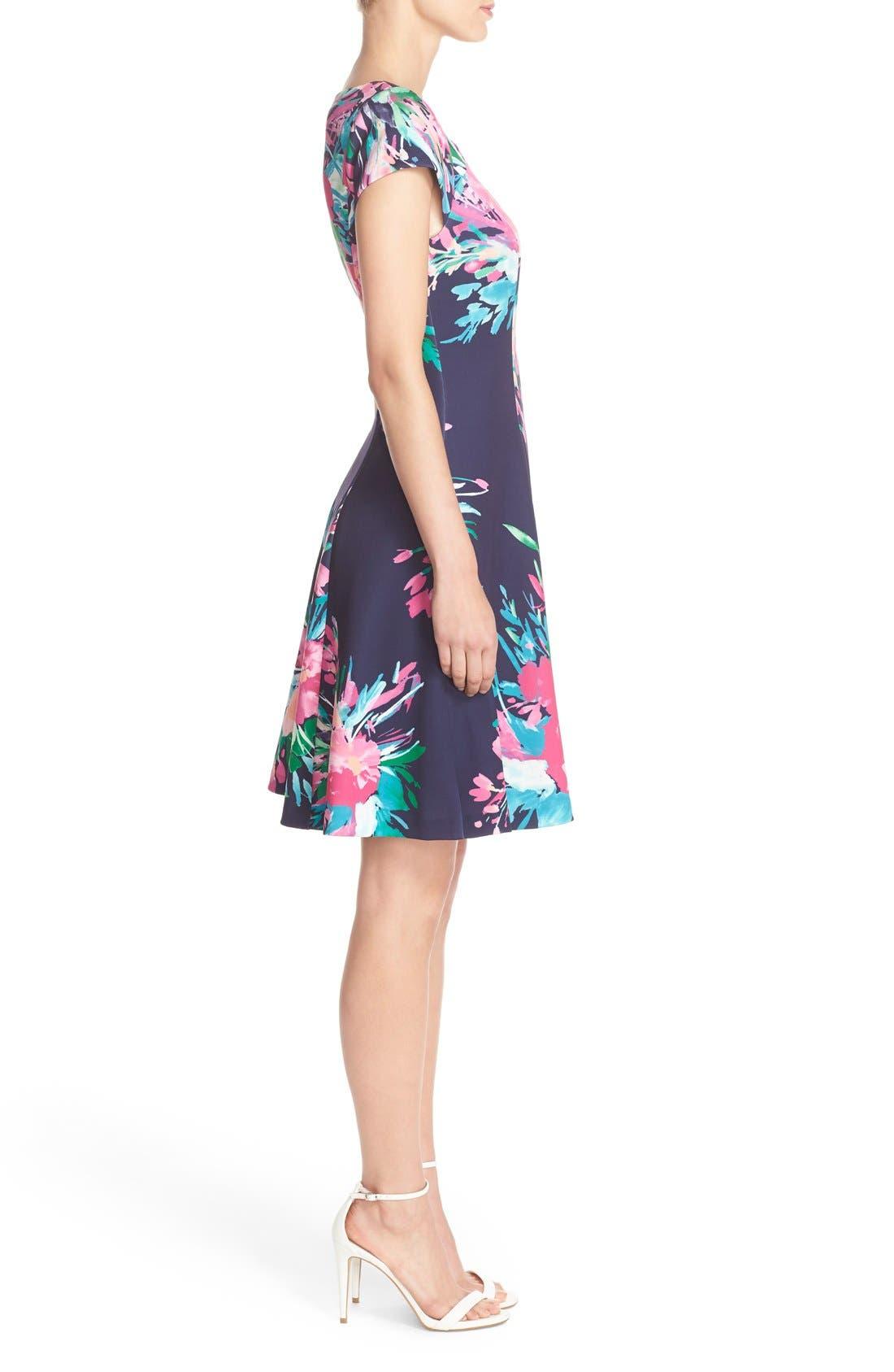 ELIZA J, Floral Print Scuba Fit & Flare Dress, Alternate thumbnail 6, color, 470