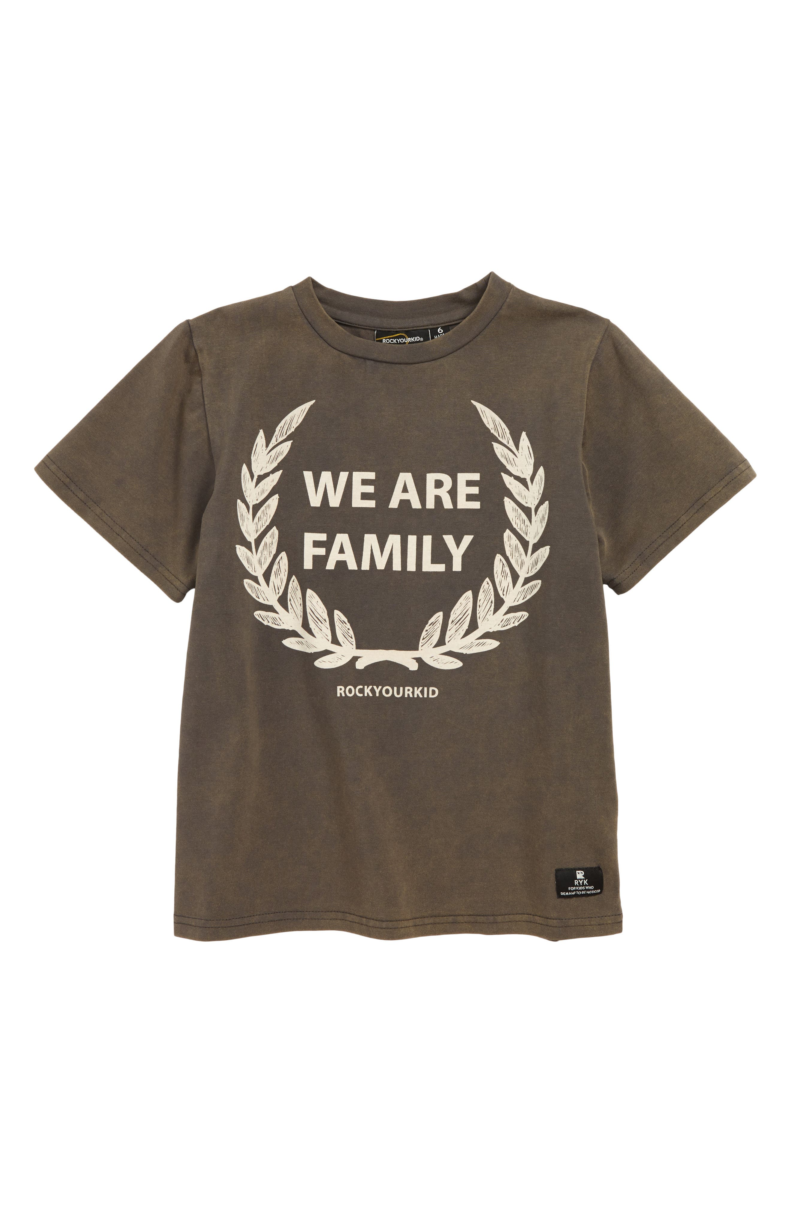 ROCK YOUR KID We Are Family T-Shirt, Main, color, CHARCOAL WASH