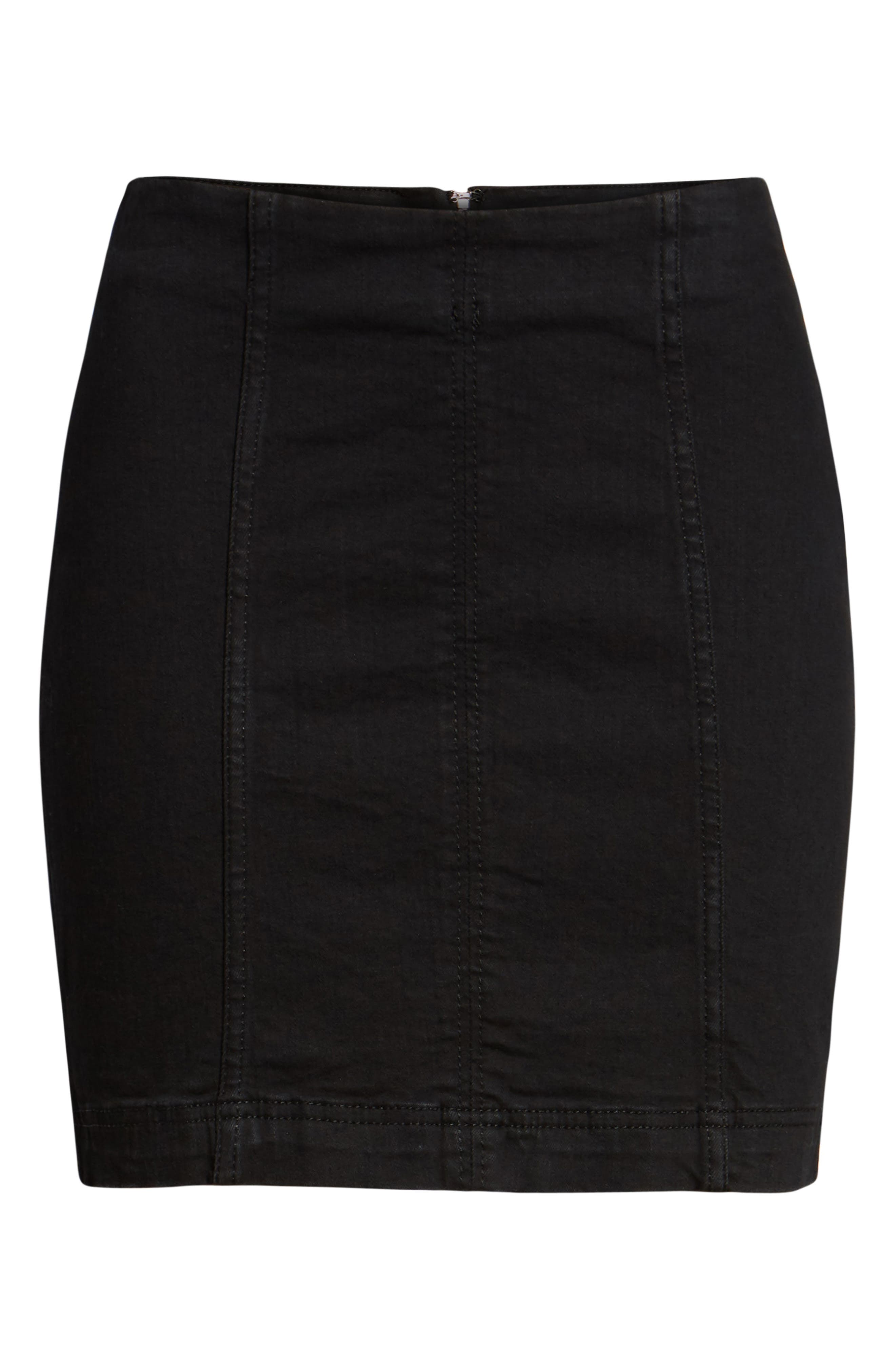 FREE PEOPLE, We the Free by Free People Modern Denim Miniskirt, Main thumbnail 1, color, 001