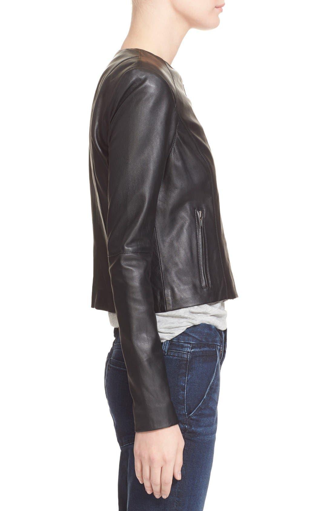 VEDA, 'Dali' Leather Jacket, Alternate thumbnail 4, color, 001
