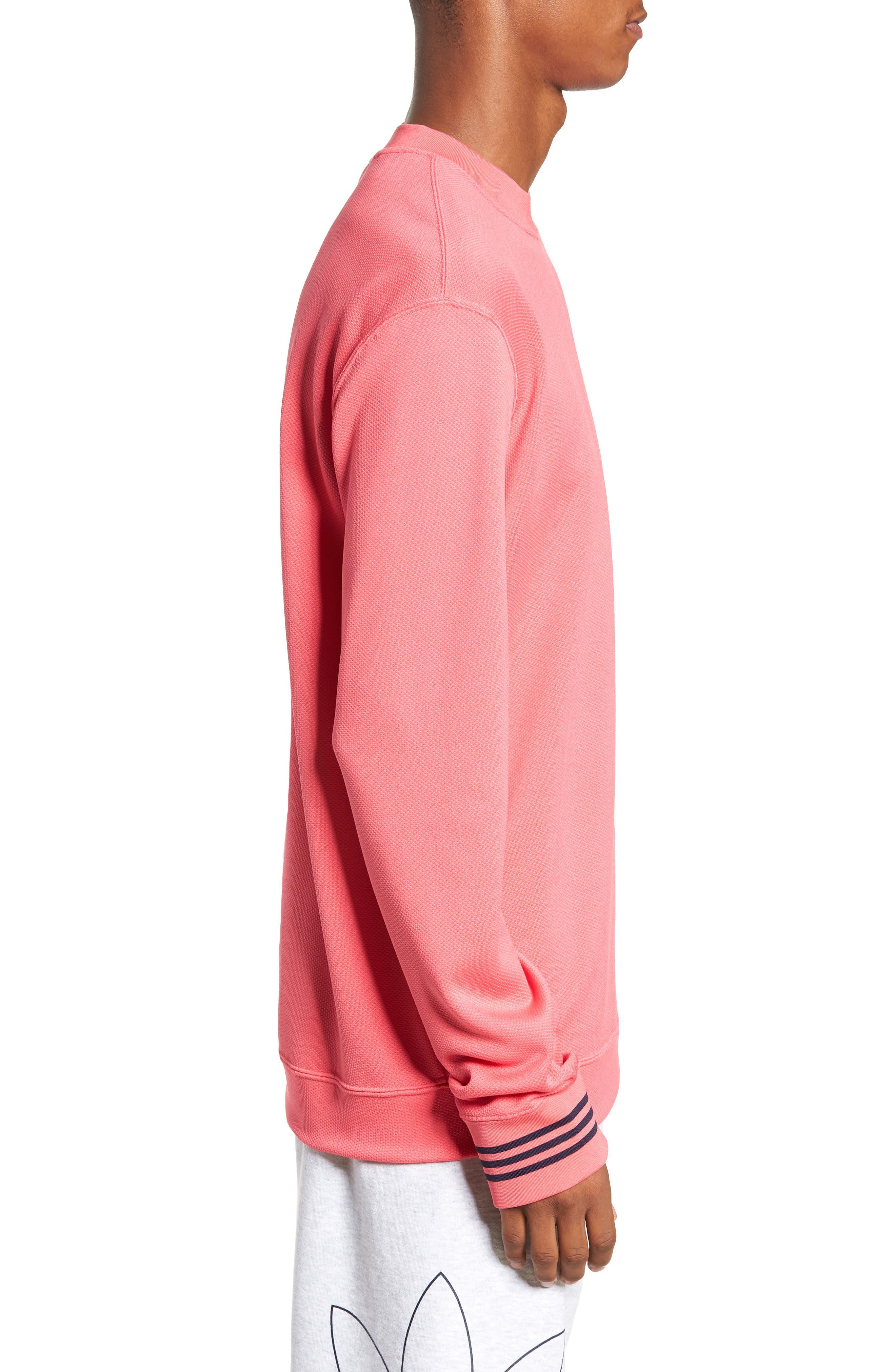 ADIDAS ORIGINALS, Piqué Long Sleeve T-Shirt, Alternate thumbnail 3, color, REAL PINK
