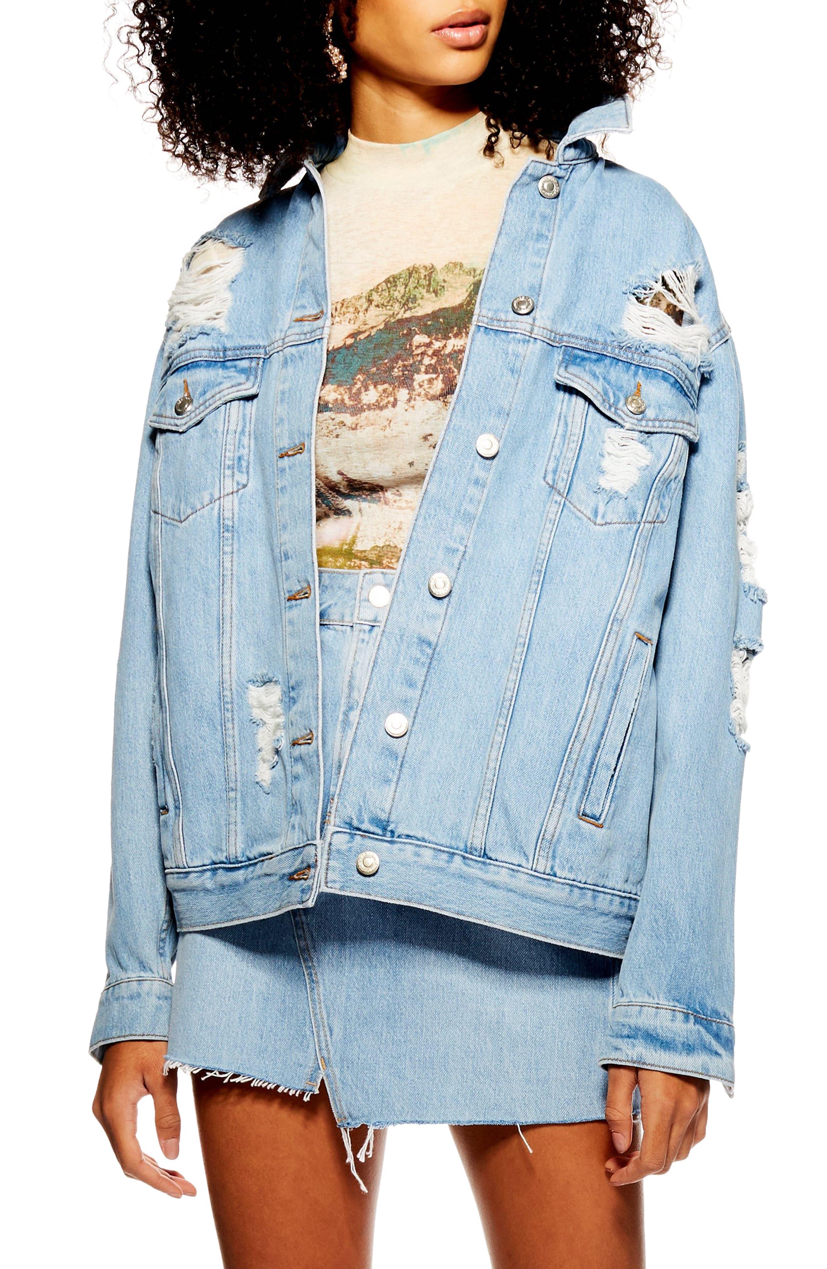 TOPSHOP Ripped Denim Jacket, Main, color, MID DENIM