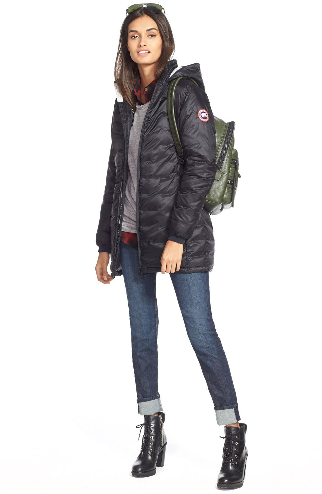 CANADA GOOSE, 'Camp' Slim Fit Hooded Packable Down Jacket, Alternate thumbnail 8, color, BLACK