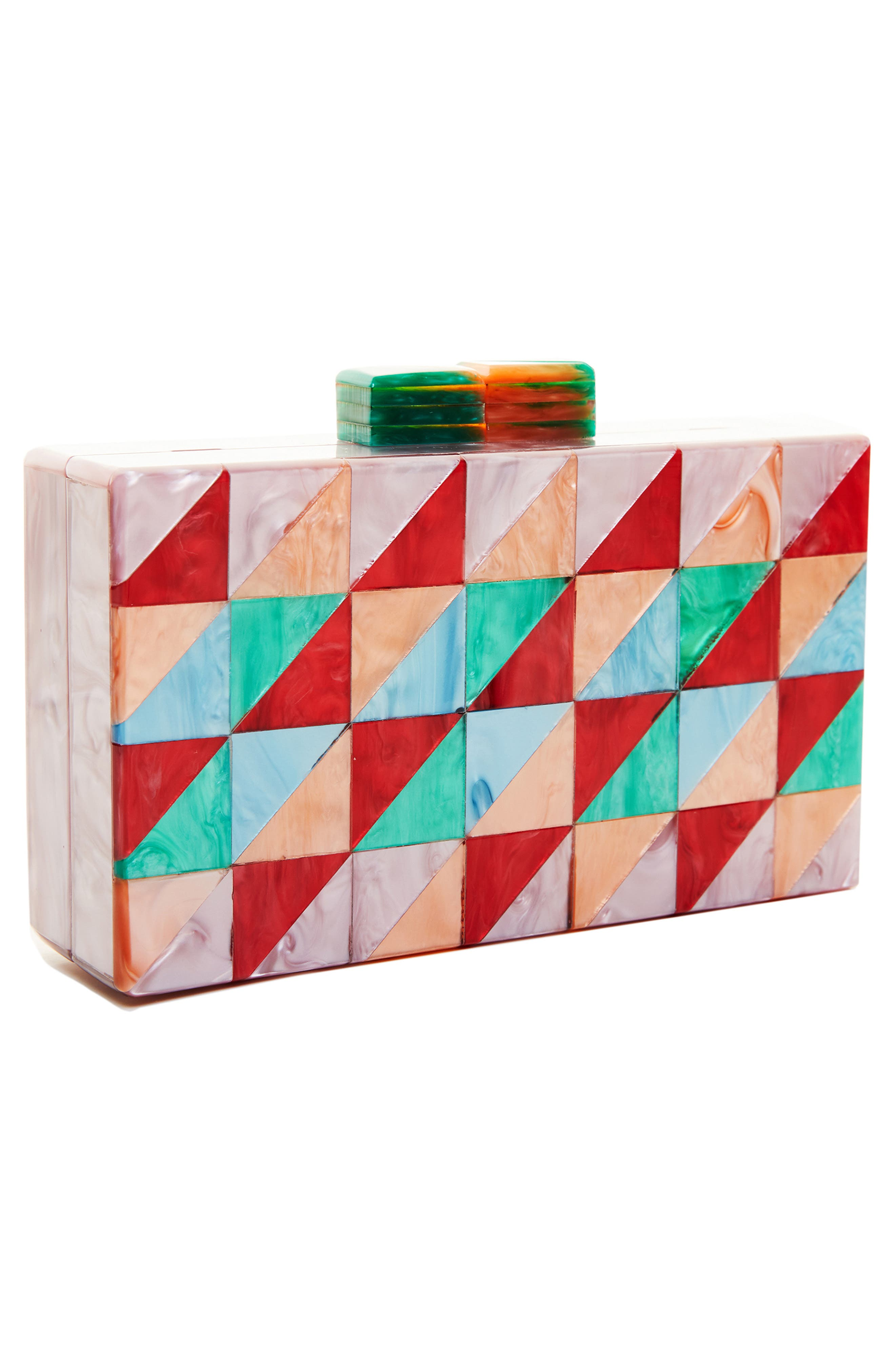 LIKE DREAMS, Geometric Box Clutch, Alternate thumbnail 6, color, MULTI