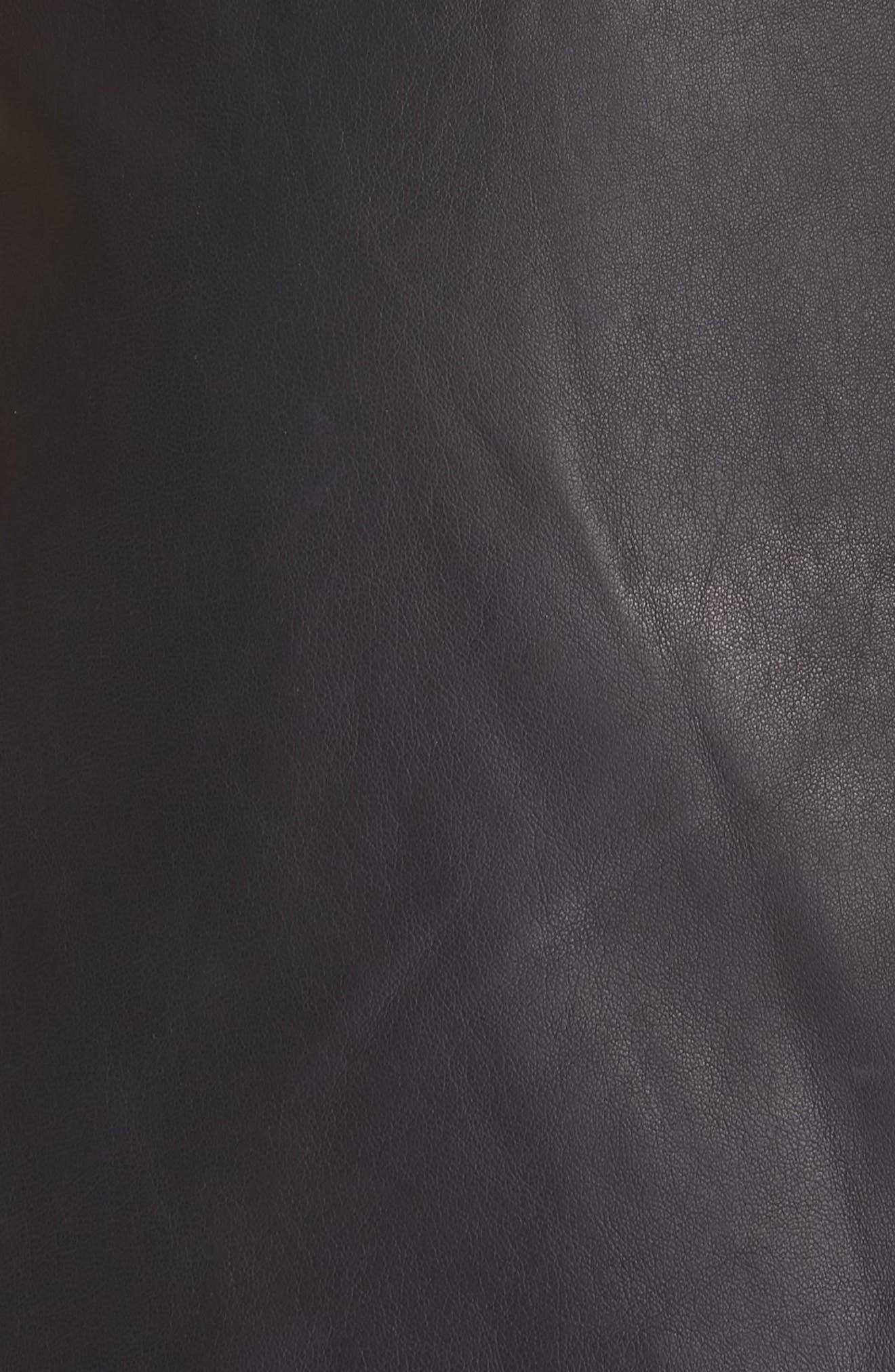 JOIE, Akirako Leather Miniskirt, Alternate thumbnail 5, color, MIDNIGHT