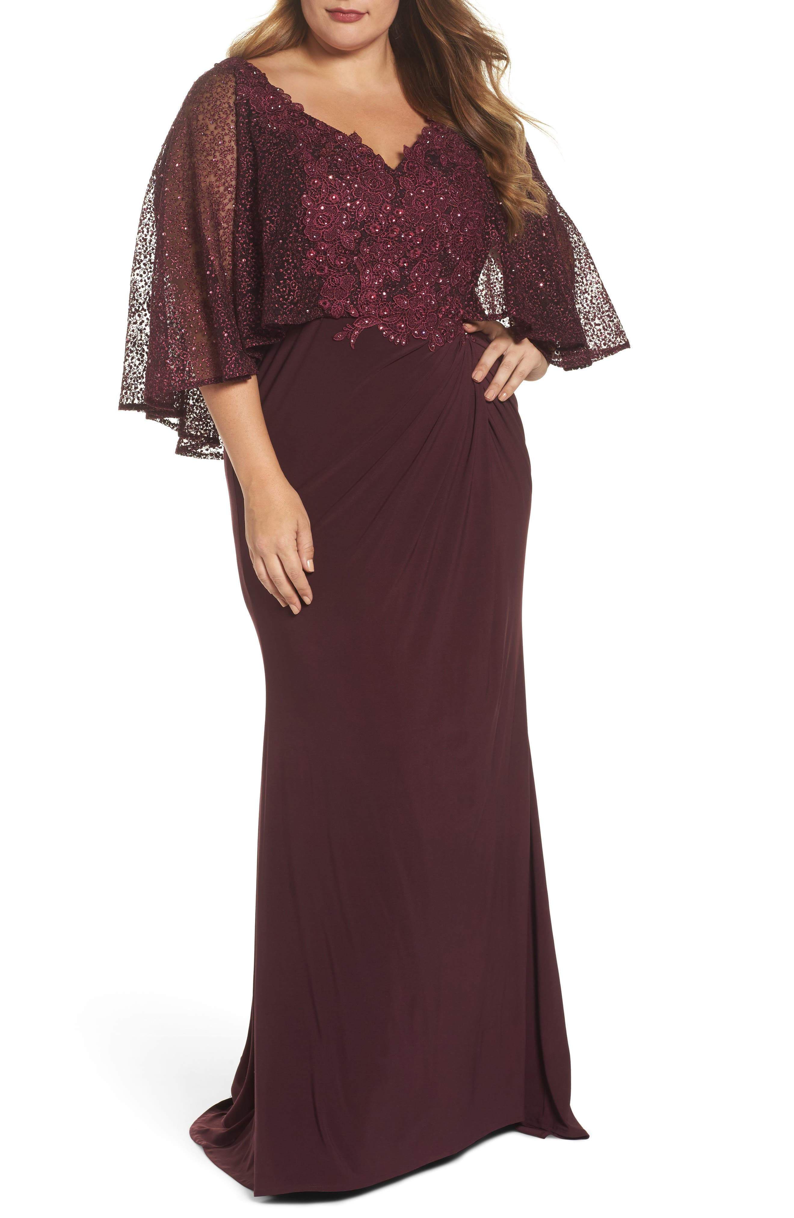 Plus Size MAC Duggal Lace Capelet Column Gown, Burgundy