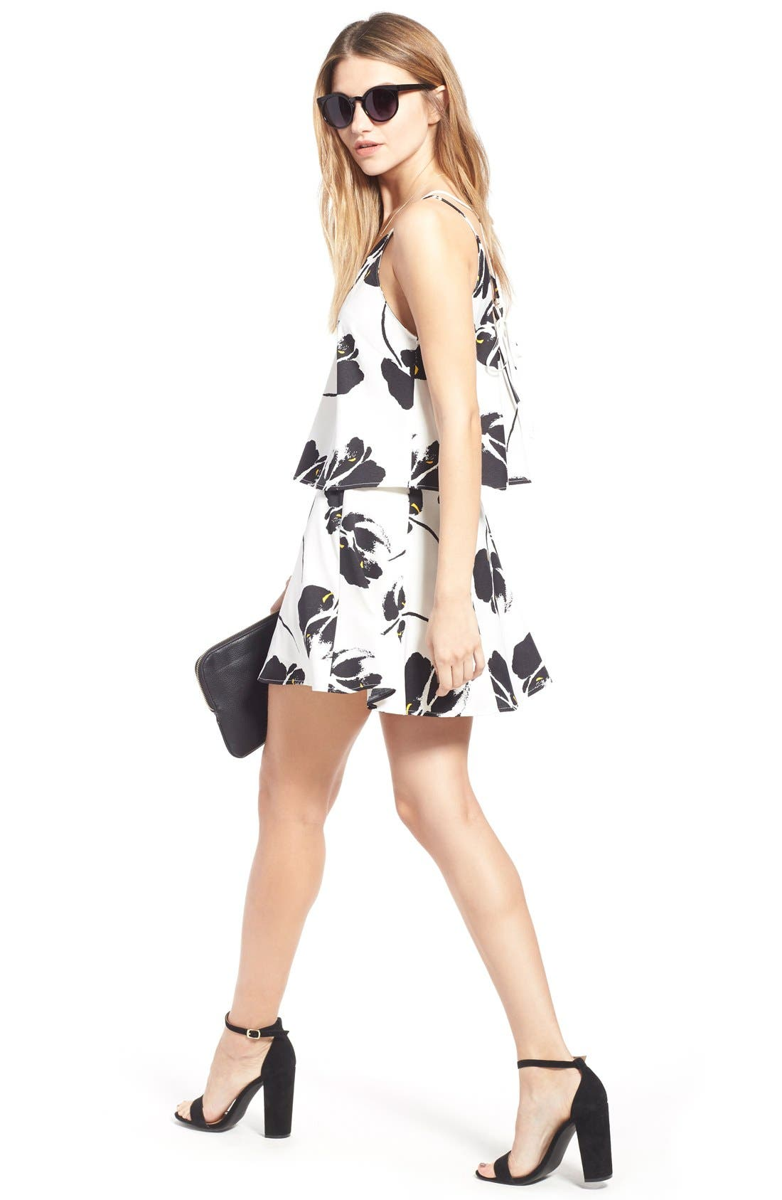 ---, Floral Print Miniskirt, Alternate thumbnail 5, color, 100