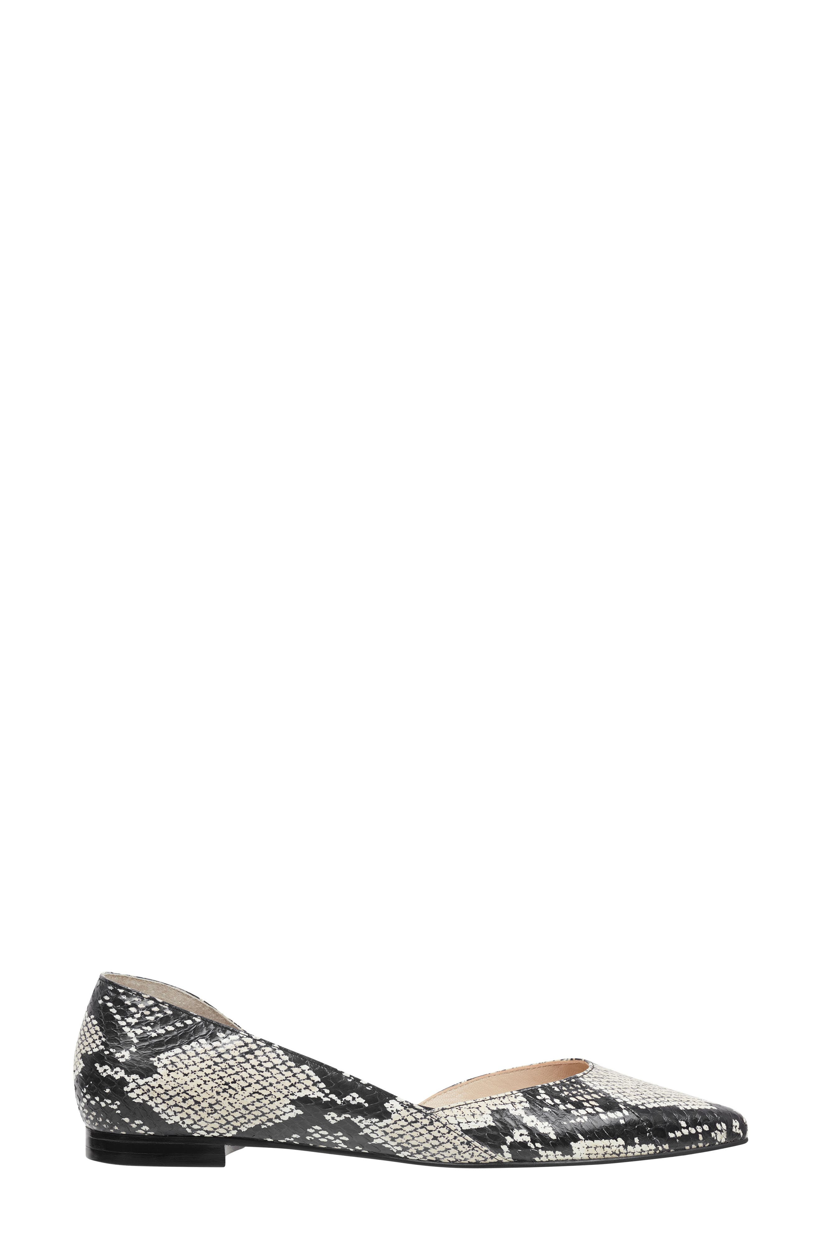 MARC FISHER LTD, 'Sunny' Half d'Orsay Flat, Alternate thumbnail 3, color, BEIGE/ BLACK SNAKE