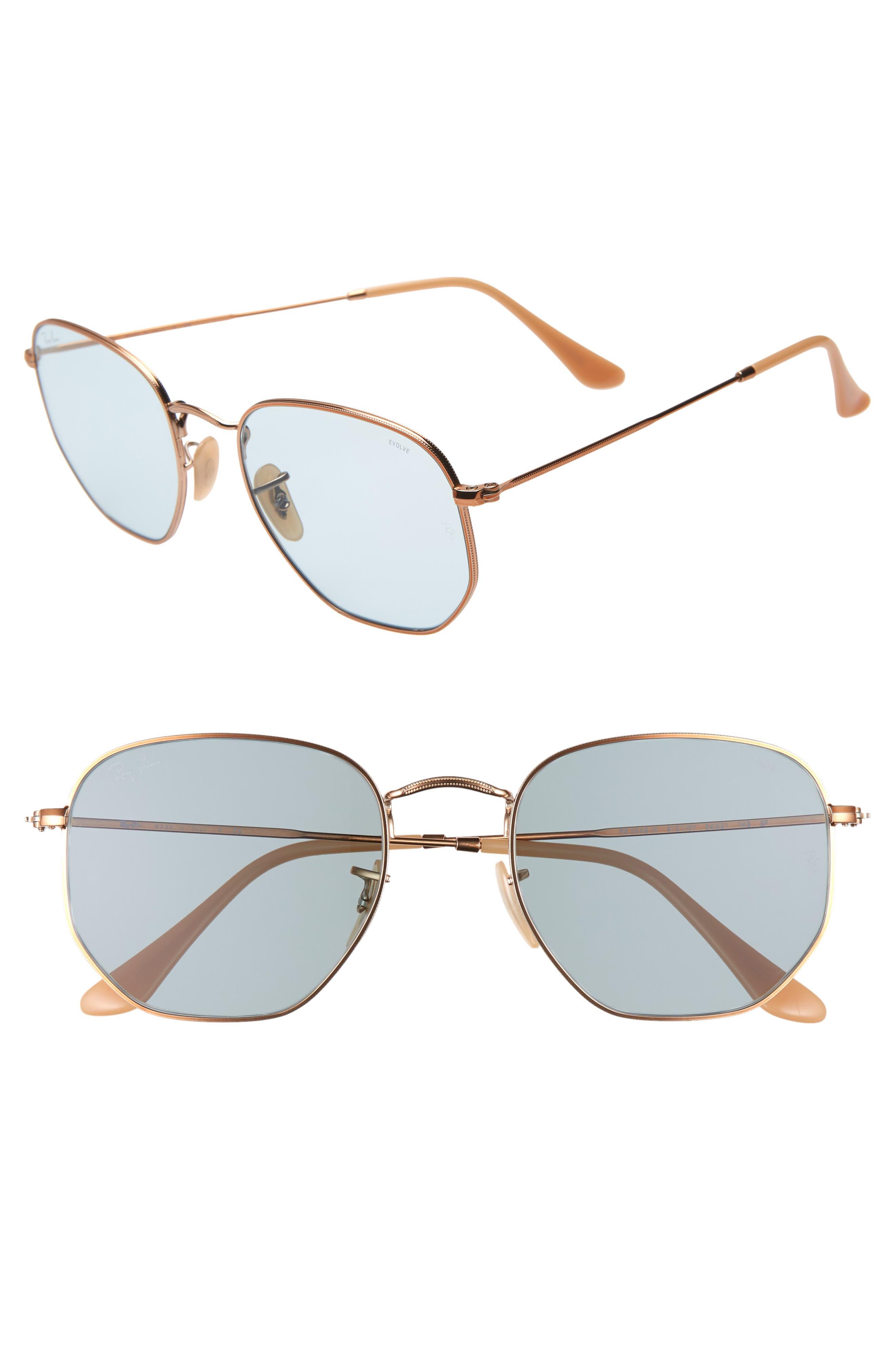 RAY-BAN 54mm Evolve Photochromic Hexagon Sunglasses, Main, color, GOLD/ LIGHT BLUE SOLID