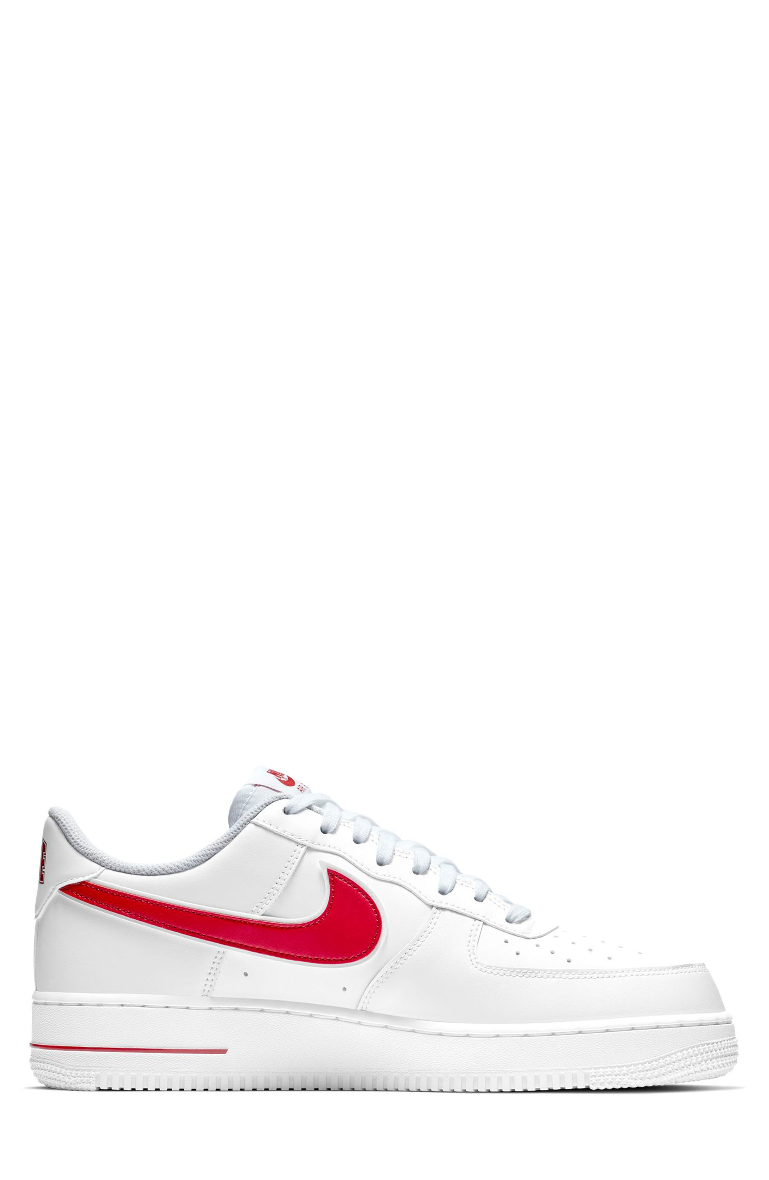 NIKE, Air Force 1 '07 3 Sneaker, Alternate thumbnail 2, color, WHITE/ GYM RED
