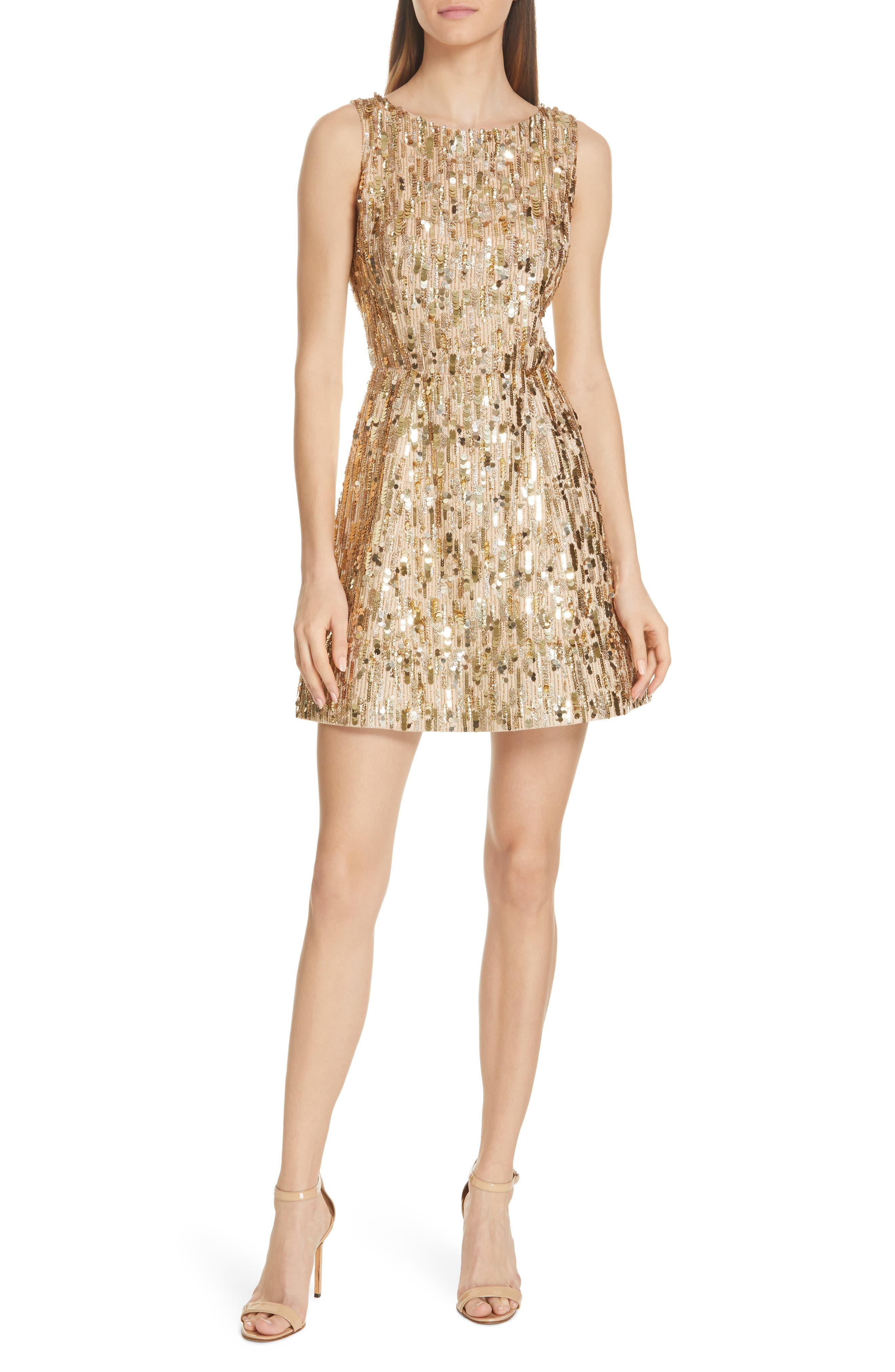 Alice + Olivia Lindsey Embellished Fit & Flare Dress, Metallic