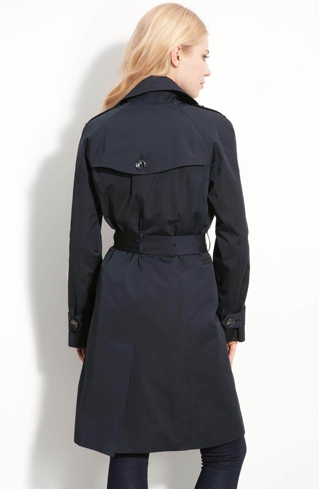 LONDON FOG, Heritage Raglan Sleeve Trench Coat with Detachable Liner, Alternate thumbnail 2, color, 001