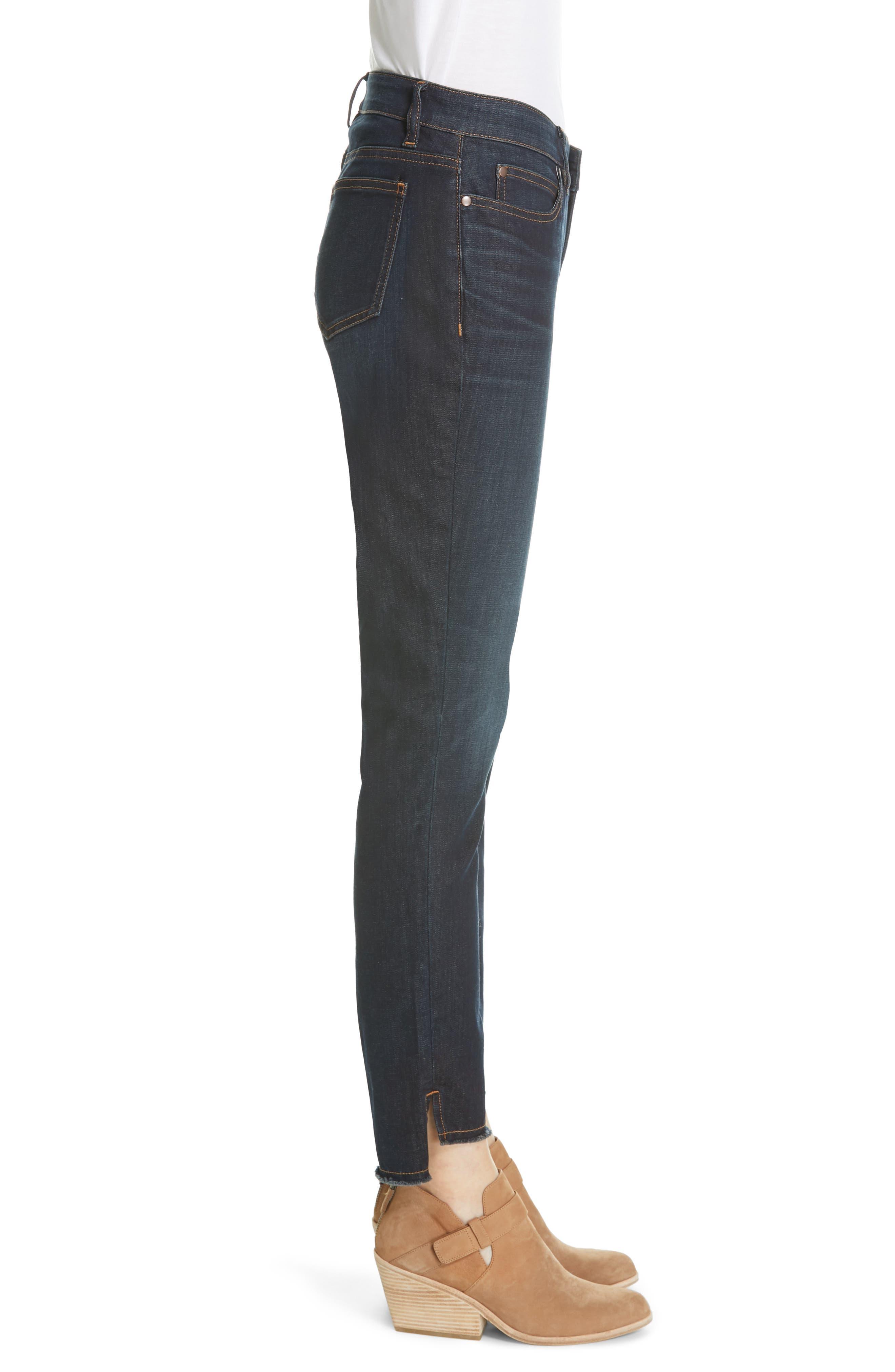 EILEEN FISHER, Raw Step Hem Slim Ankle Jeans, Alternate thumbnail 4, color, UTILITY BLUE