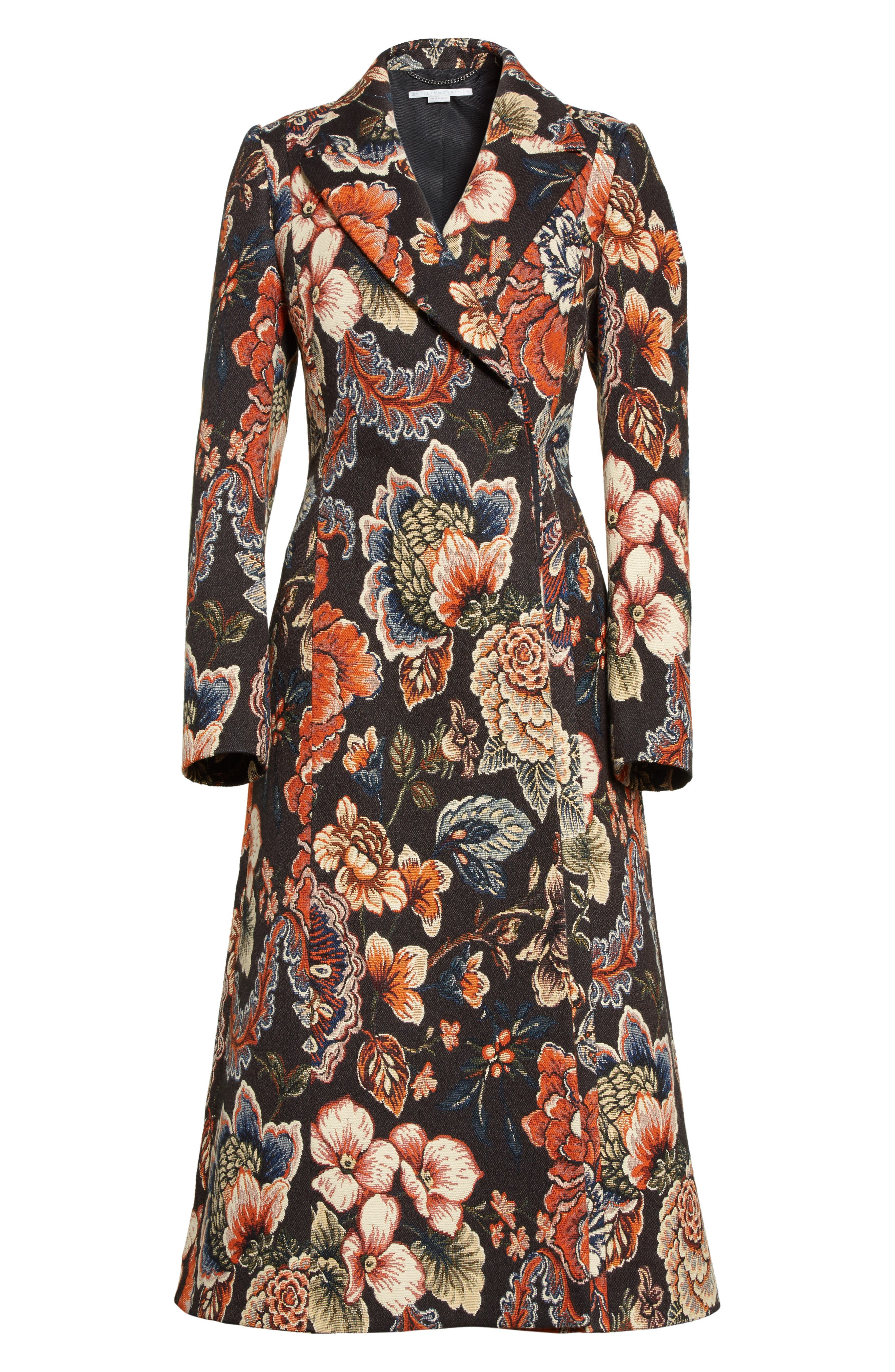 STELLA MCCARTNEY, Floral Tapestry Long Coat, Alternate thumbnail 5, color, 960