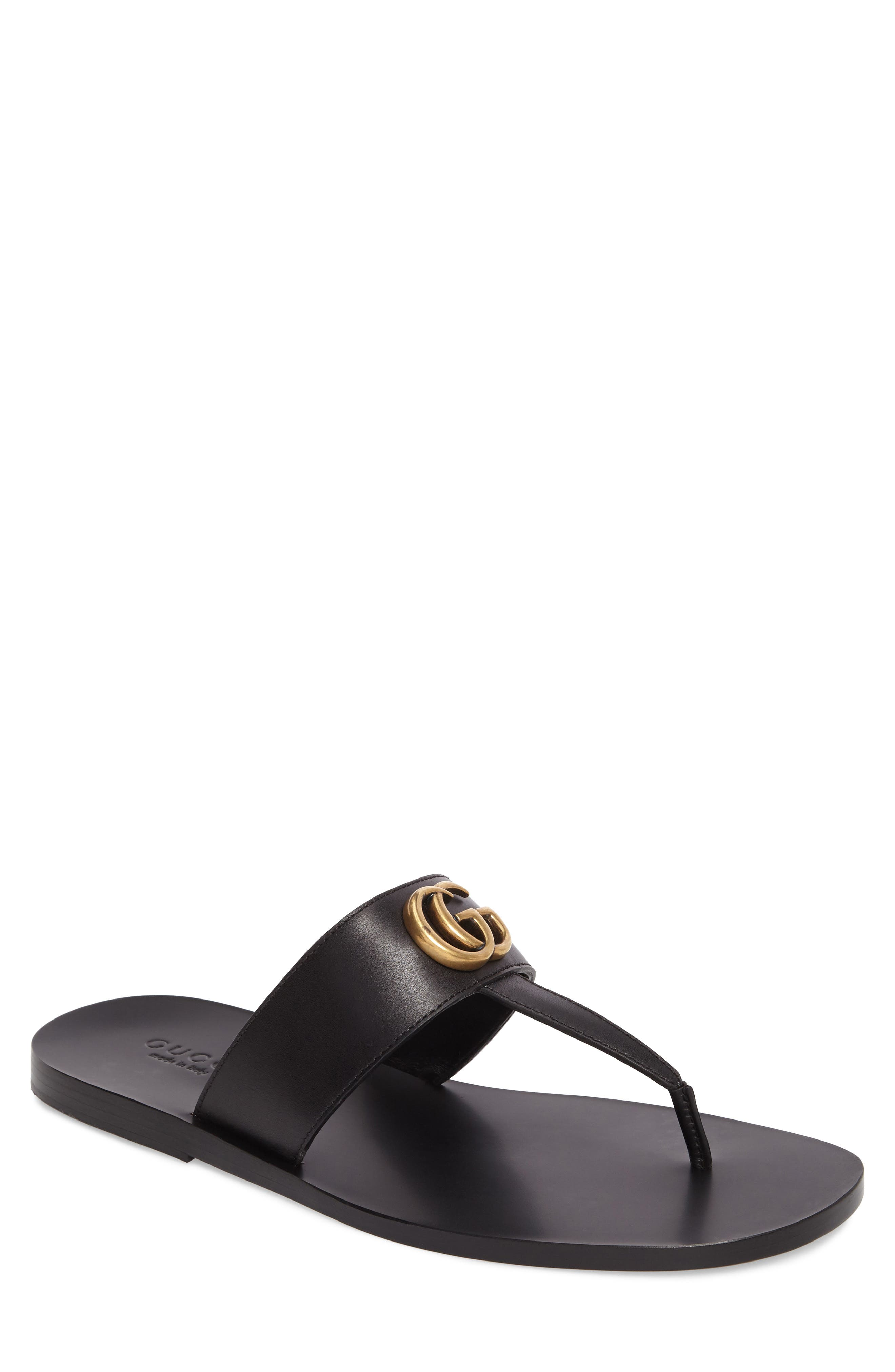 GUCCI, Marmont Double G Leather Thong Sandal, Main thumbnail 1, color, BLACK/ GOLD
