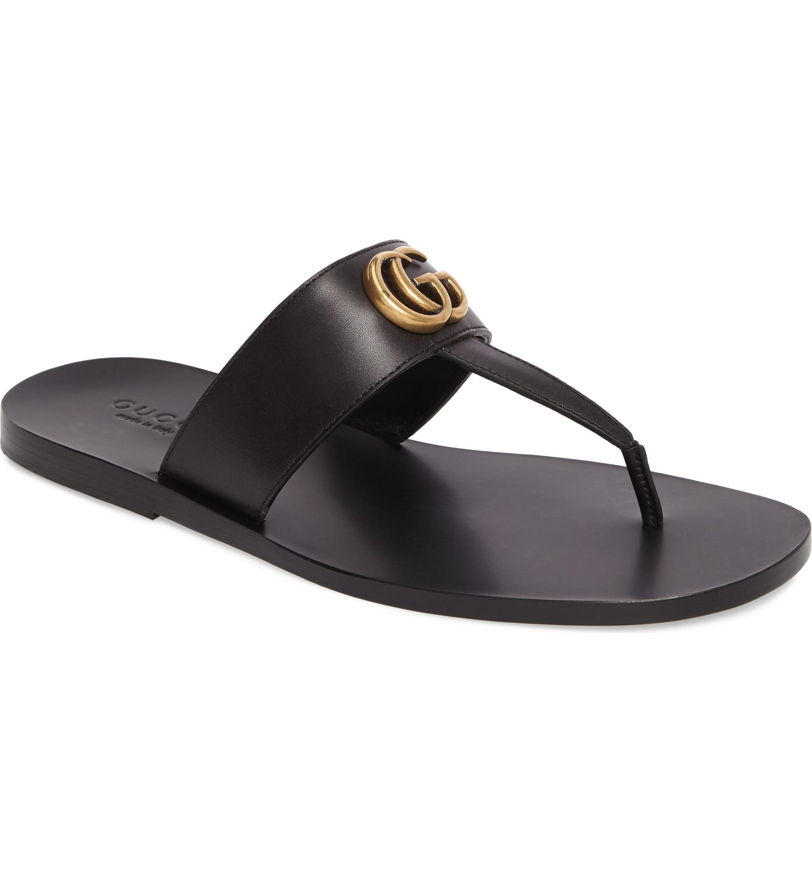 5b5612571b78 Gucci Marmont Double G Leather Thong Sandal (Men)