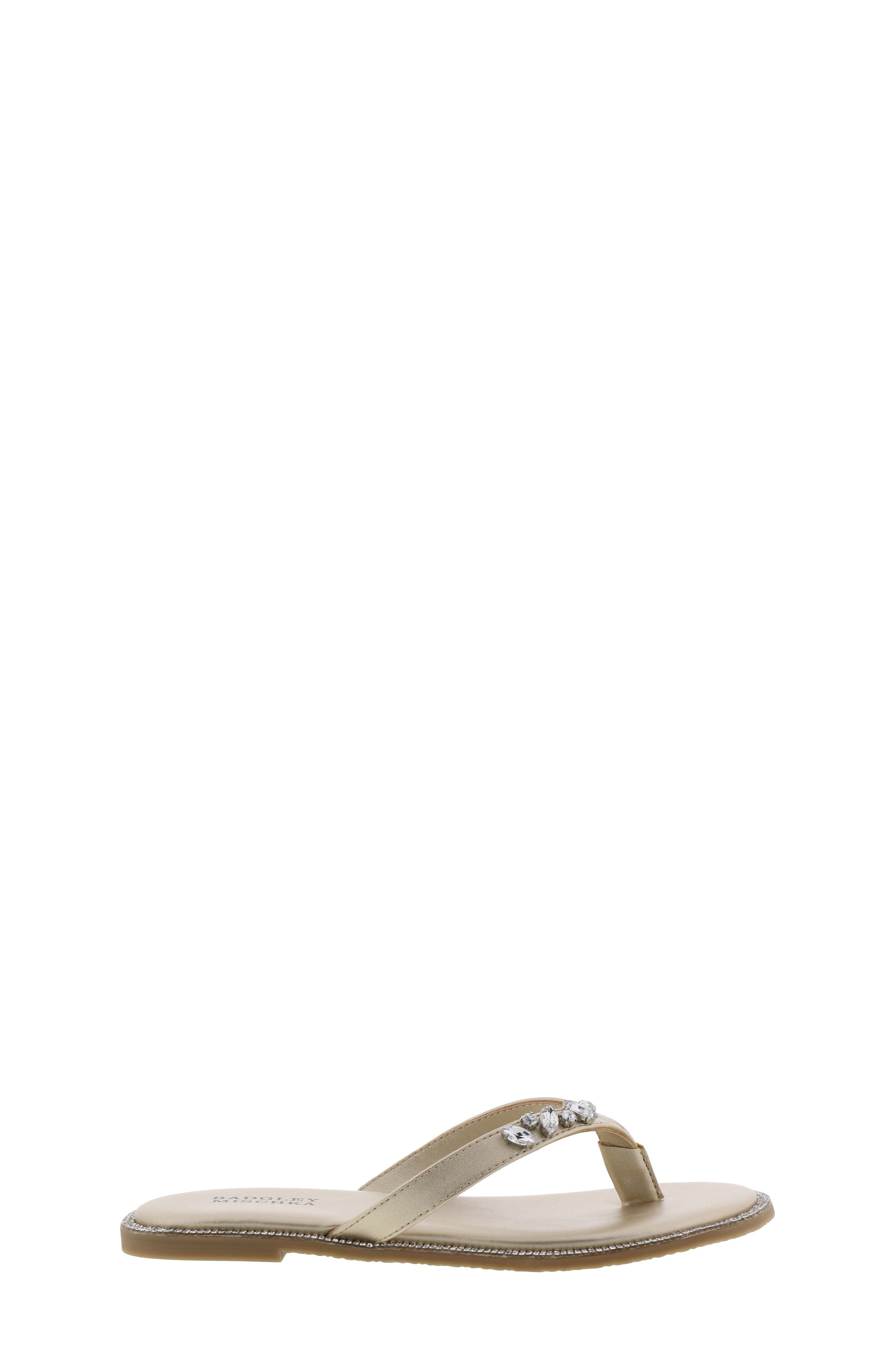 BADGLEY MISCHKA COLLECTION, Badgley Mischka Missy Flip Flop, Alternate thumbnail 3, color, LIGHT GOLD SHIMMER