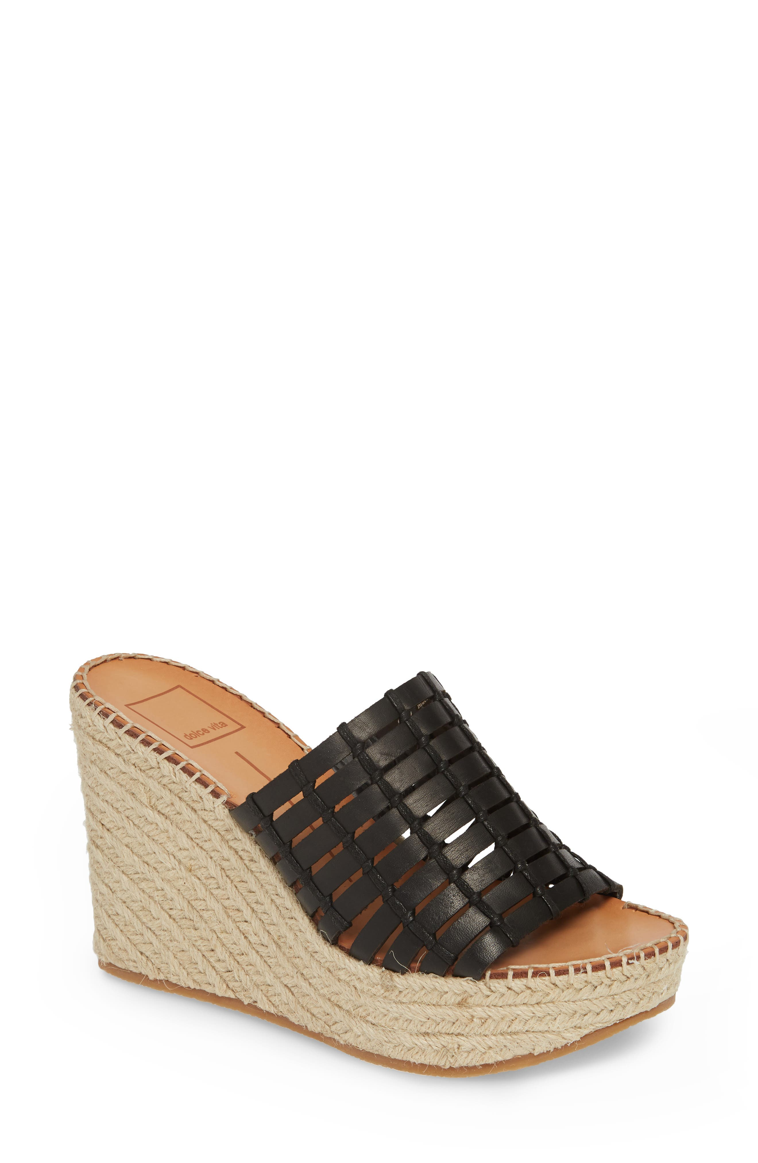 DOLCE VITA Prue Espadrille Wedge Slide Sandal, Main, color, BLACK LEATHER