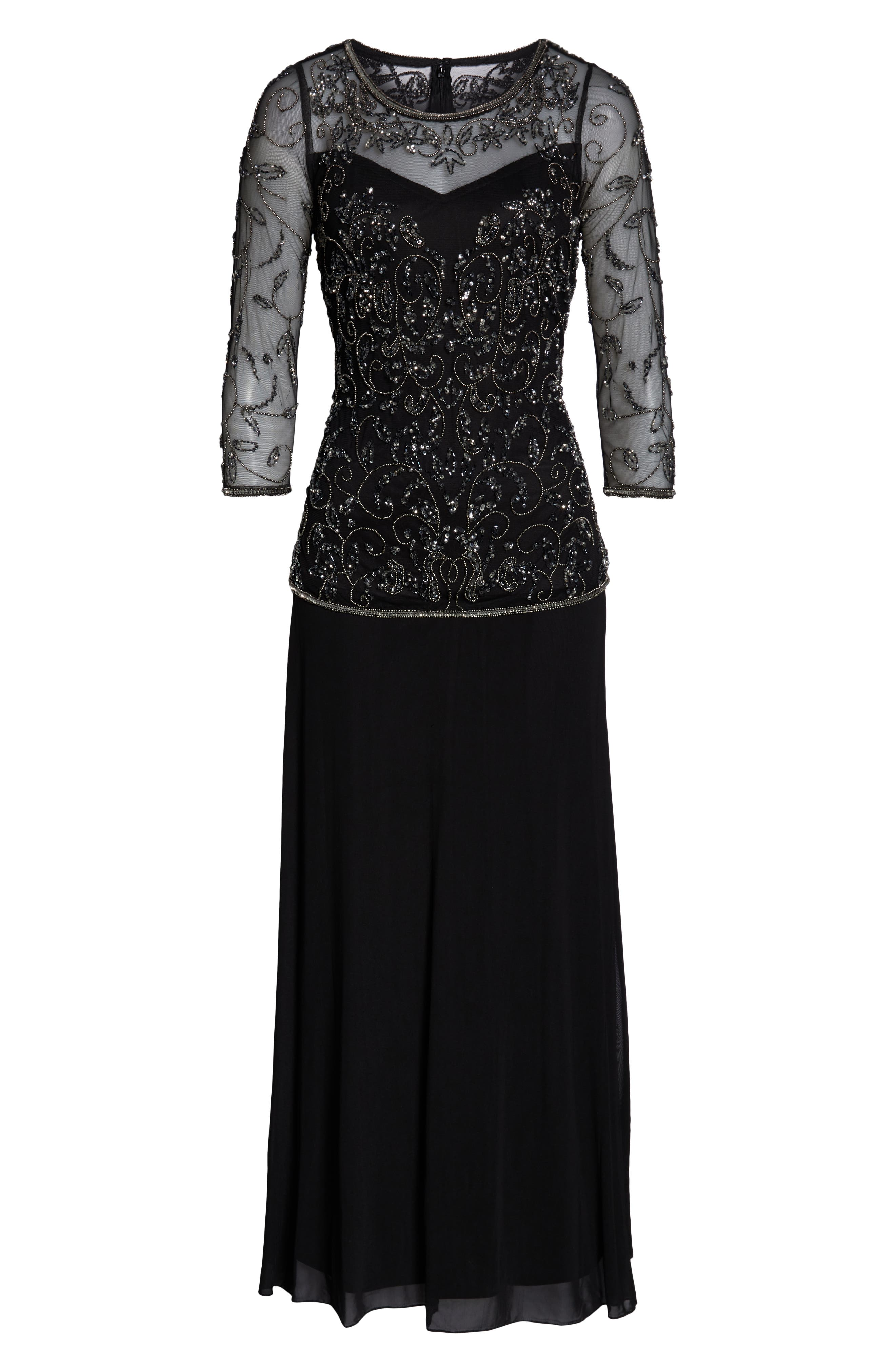 PISARRO NIGHTS, Beaded Mesh Mock Two-Piece Gown, Alternate thumbnail 8, color, 001