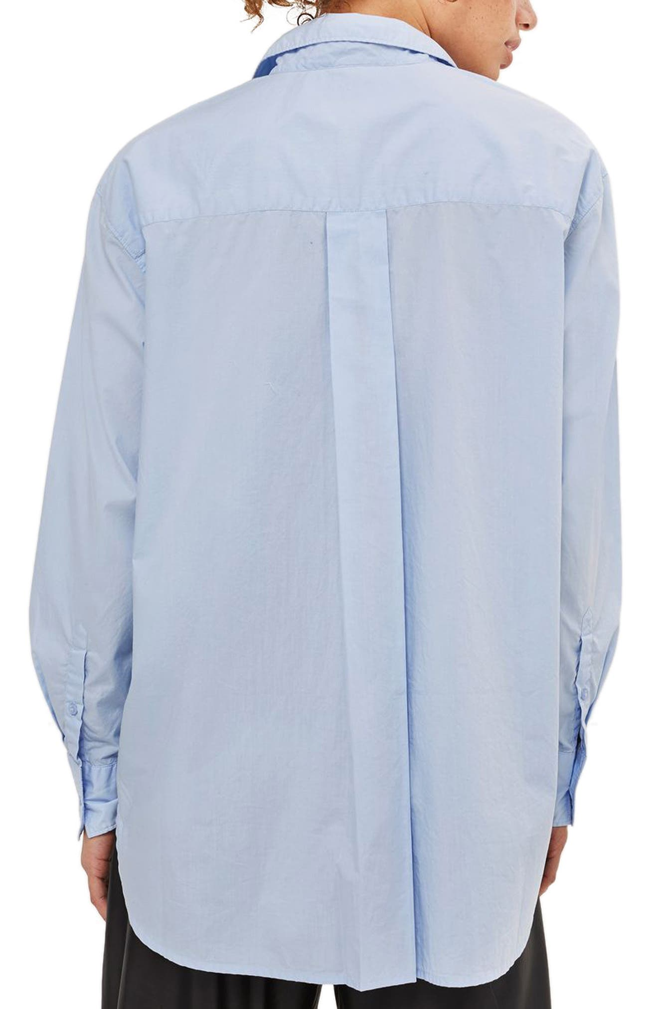 TOPSHOP, Olly Oversized Poplin Shirt, Alternate thumbnail 2, color, 450